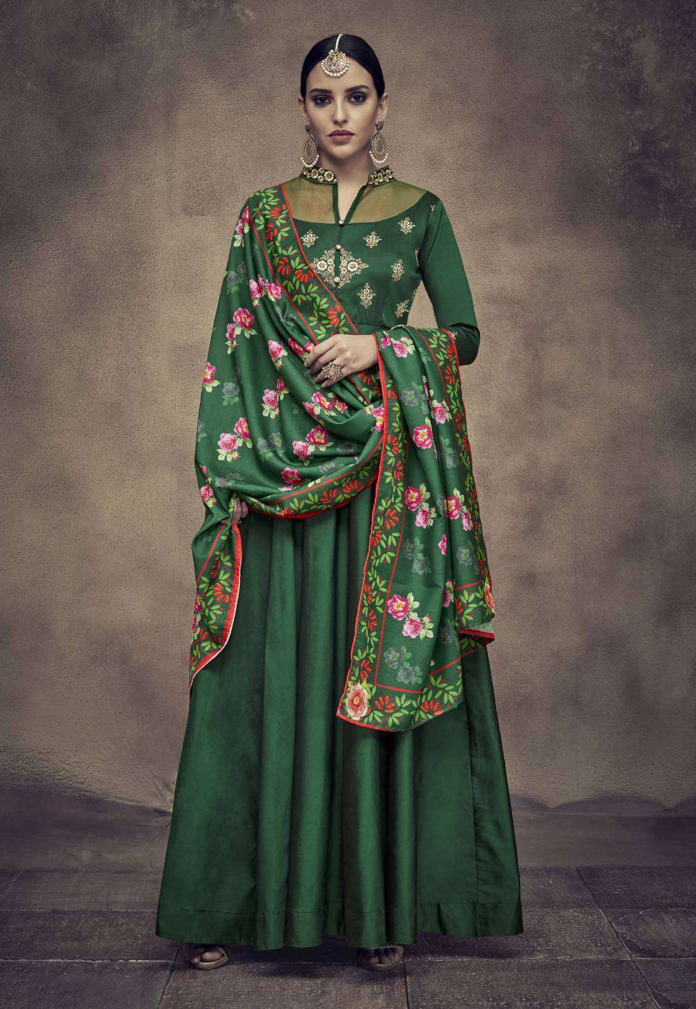 Green Designer Taffeta Silk & Satin Embroidered Salwar Kameez MYSK-2028