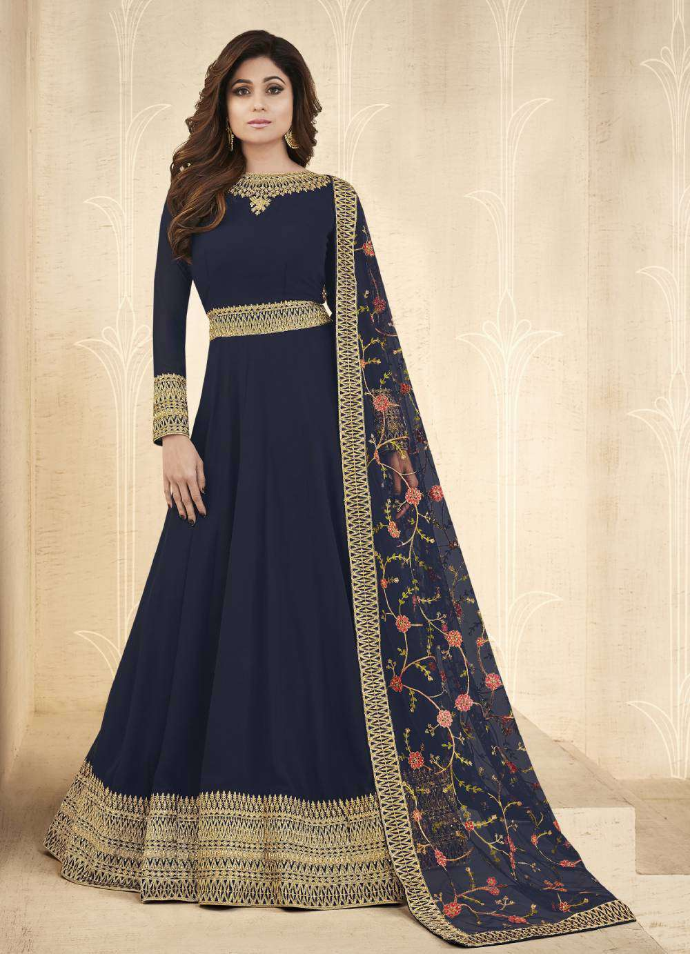 Blue Real Georgette Embroidered Gown Designer Salwar Kameez MYSK-2050