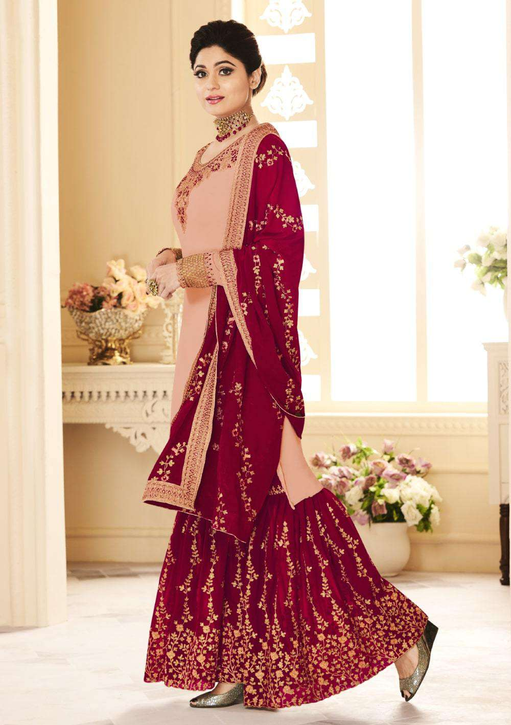 Beautiful Peach Real Georgette Embroidered Salwar Kameez MYSK-2071