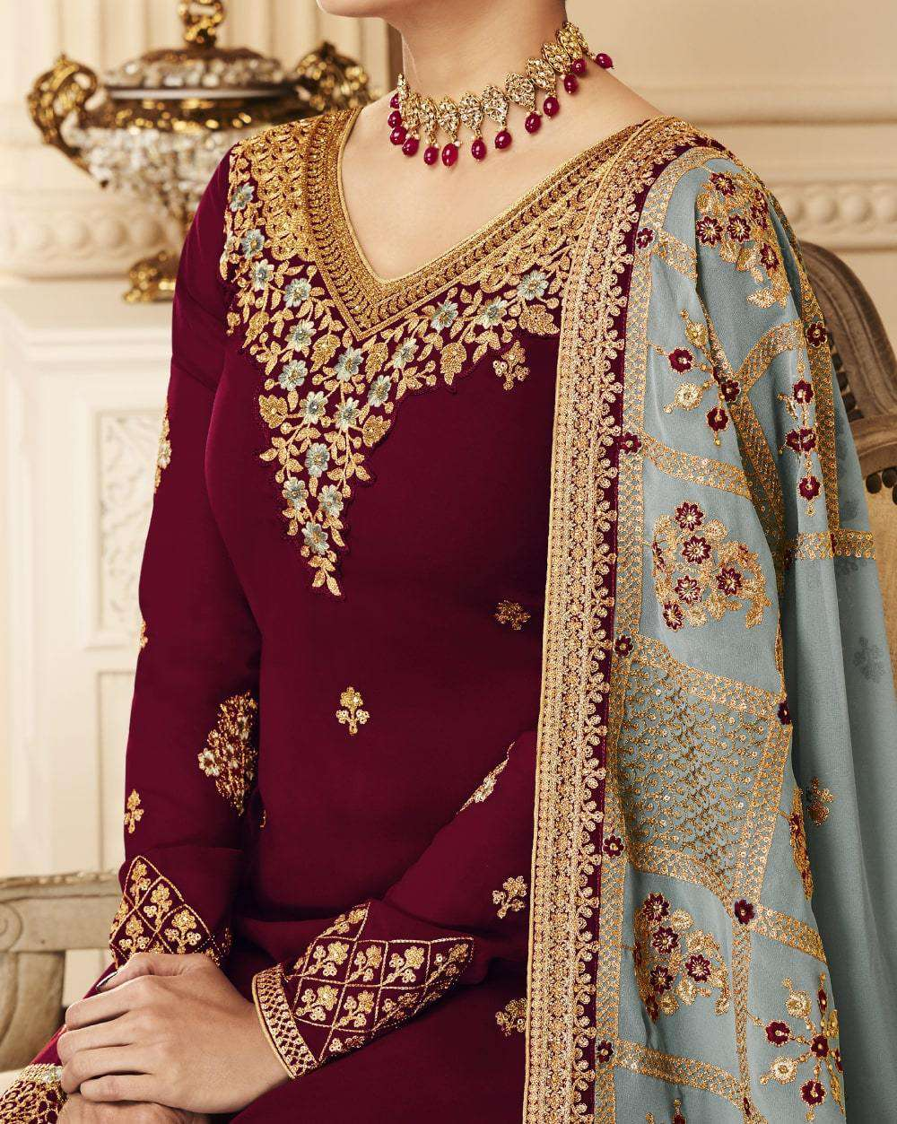 Beautiful Maroon Real Georgette Embroidered Salwar Kameez MYSK-2073
