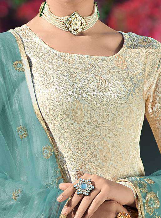 Cream Brocade Embroidered Salwar Kameez MYSK-2076