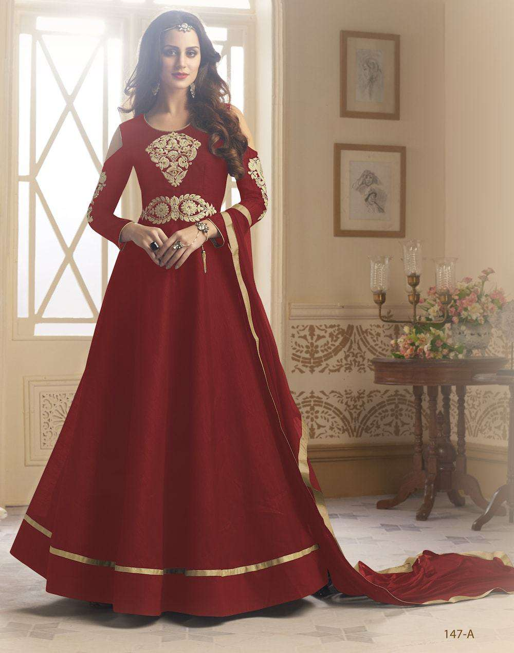 Embroidered Silk Red Anarkali Salwar Kameez MYSK-208