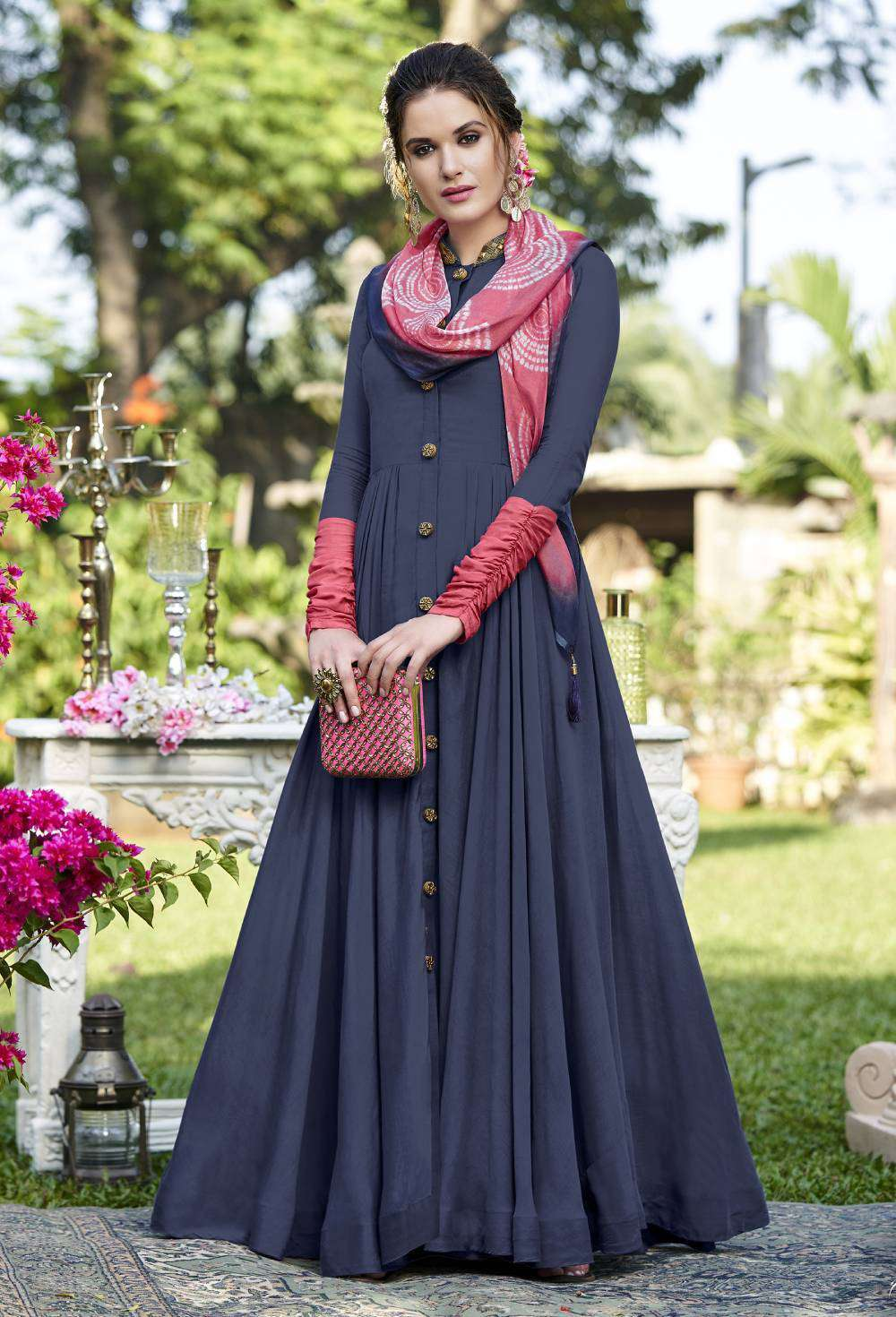 Anarkali Blue Colour Gown Designer Salwar Kameez MYSK-2098