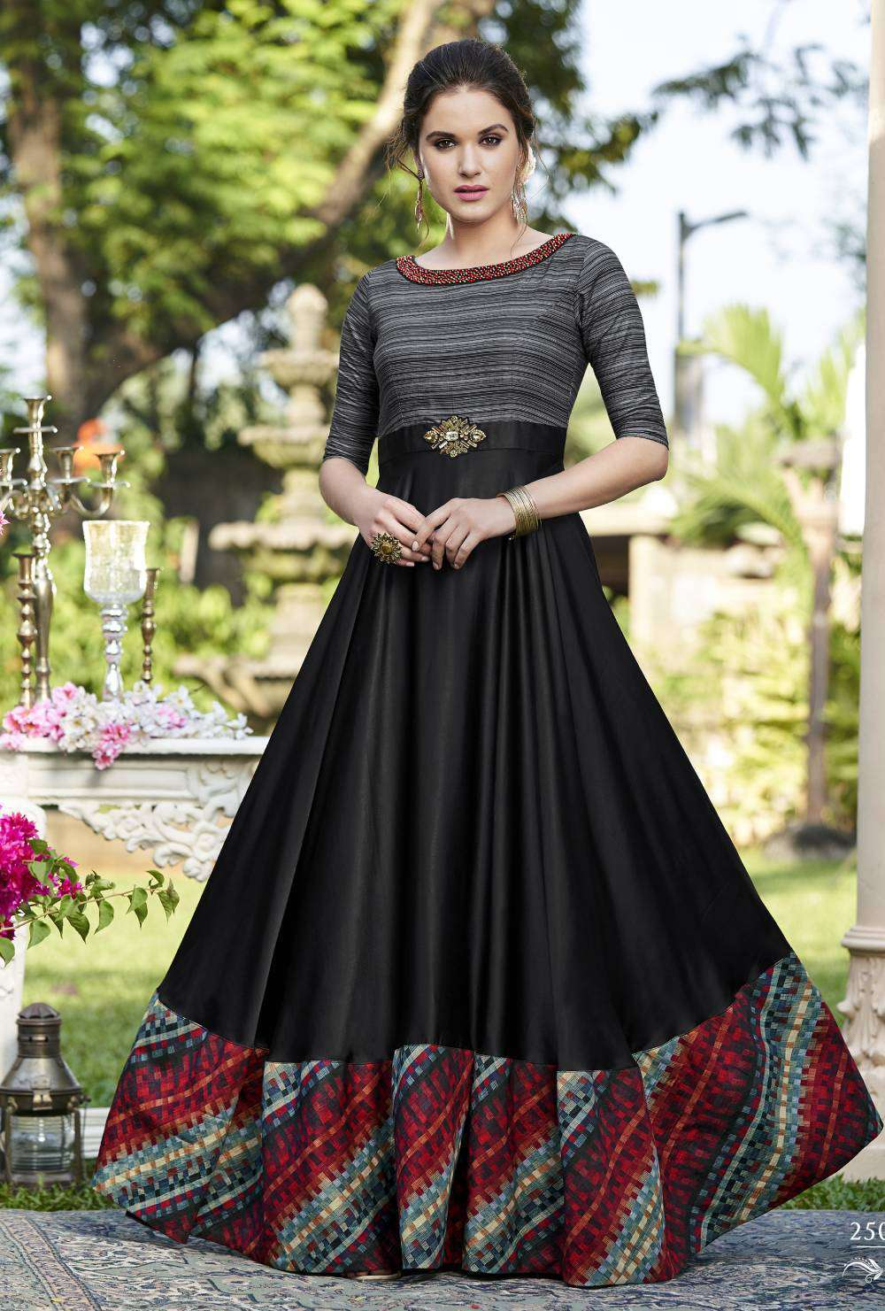 Anarkali Black Printed Cotton Satin Salwar Kameez MYSK-2099