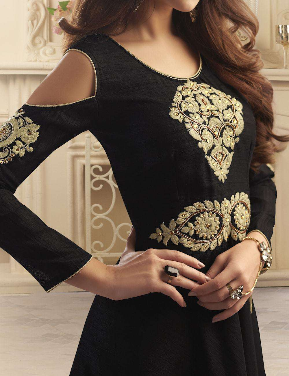 Embroidered Silk Black Anarkali Salwar Kameez MYSK-210
