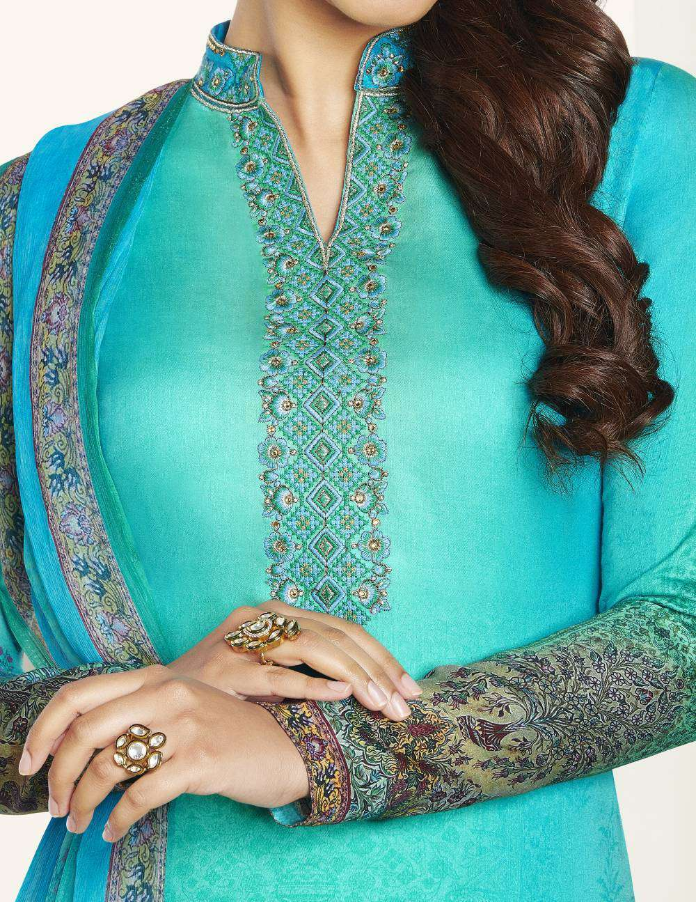 Turquoise Colour Digital Printed Cotton Satin Salwar Kameez MYSK-2105