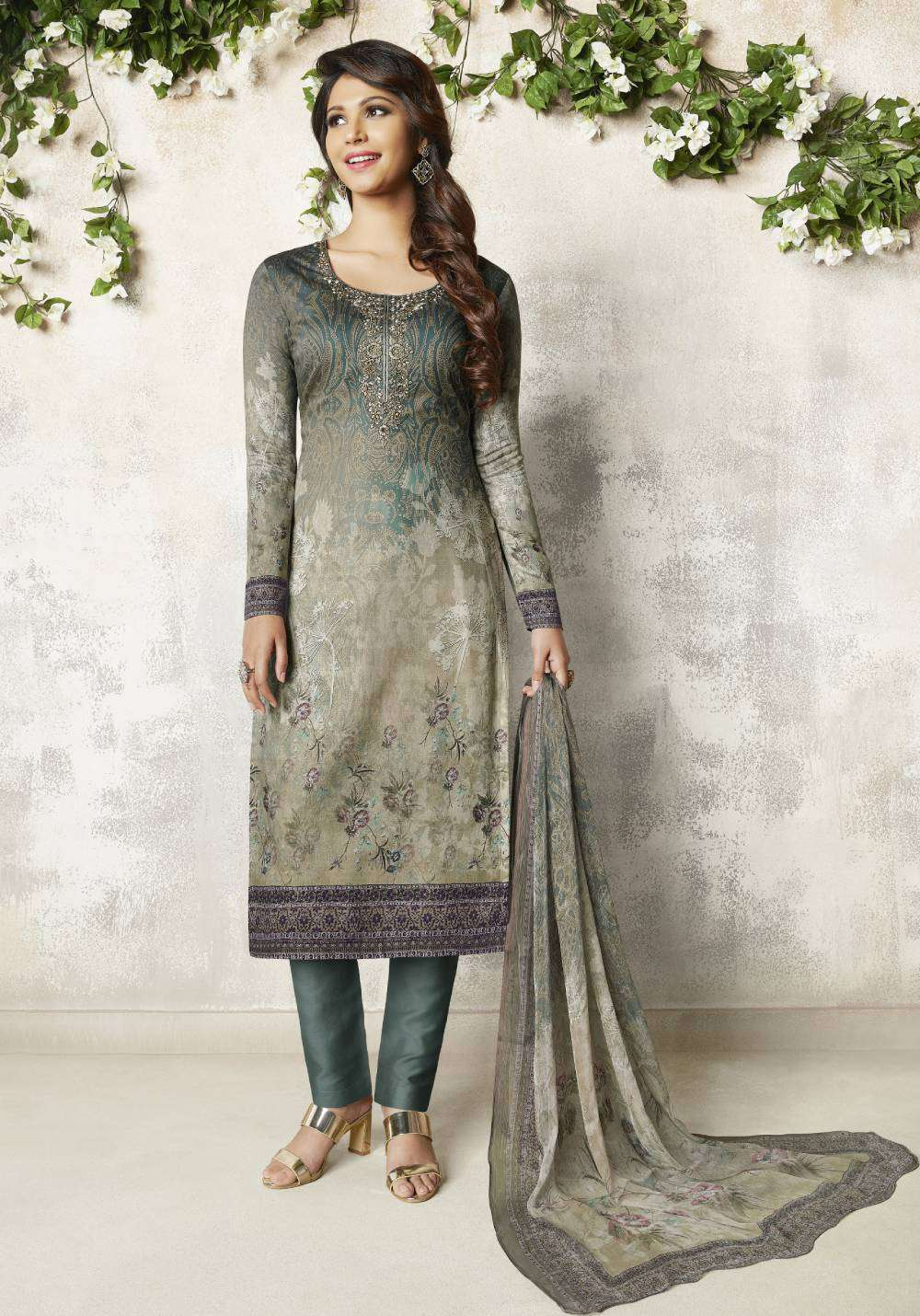 Grey Colour Digital Printed Cotton Satin Salwar Kameez MYSK-2110