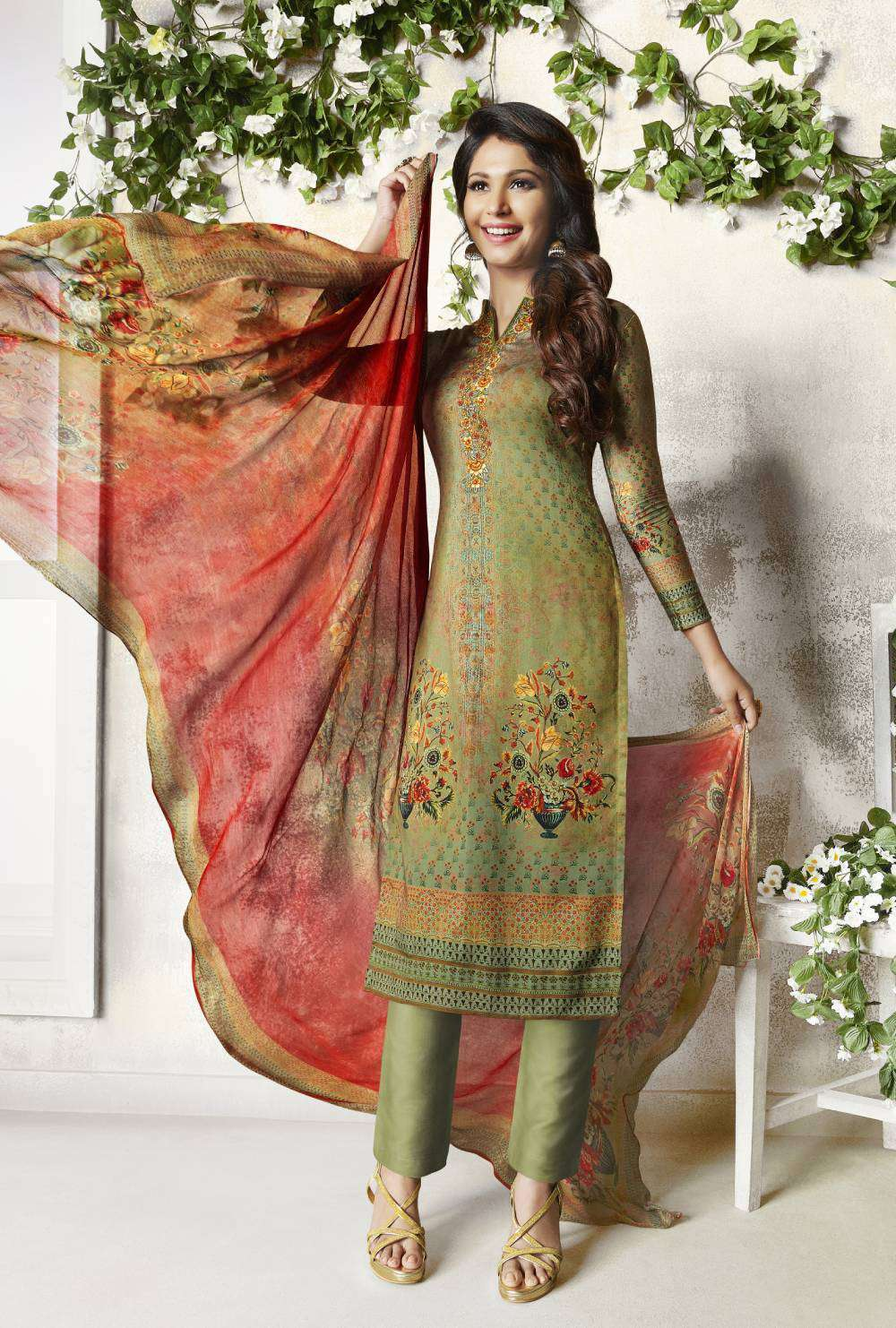 Henna Colour Digital Printed Cotton Satin Salwar Kameez MYSK-2111
