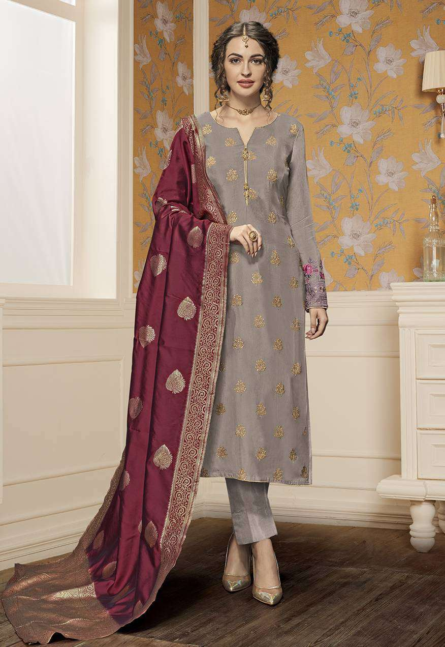 Embroidered Pure Satin In Grey Colour Salwar Kameez MYSK-2136