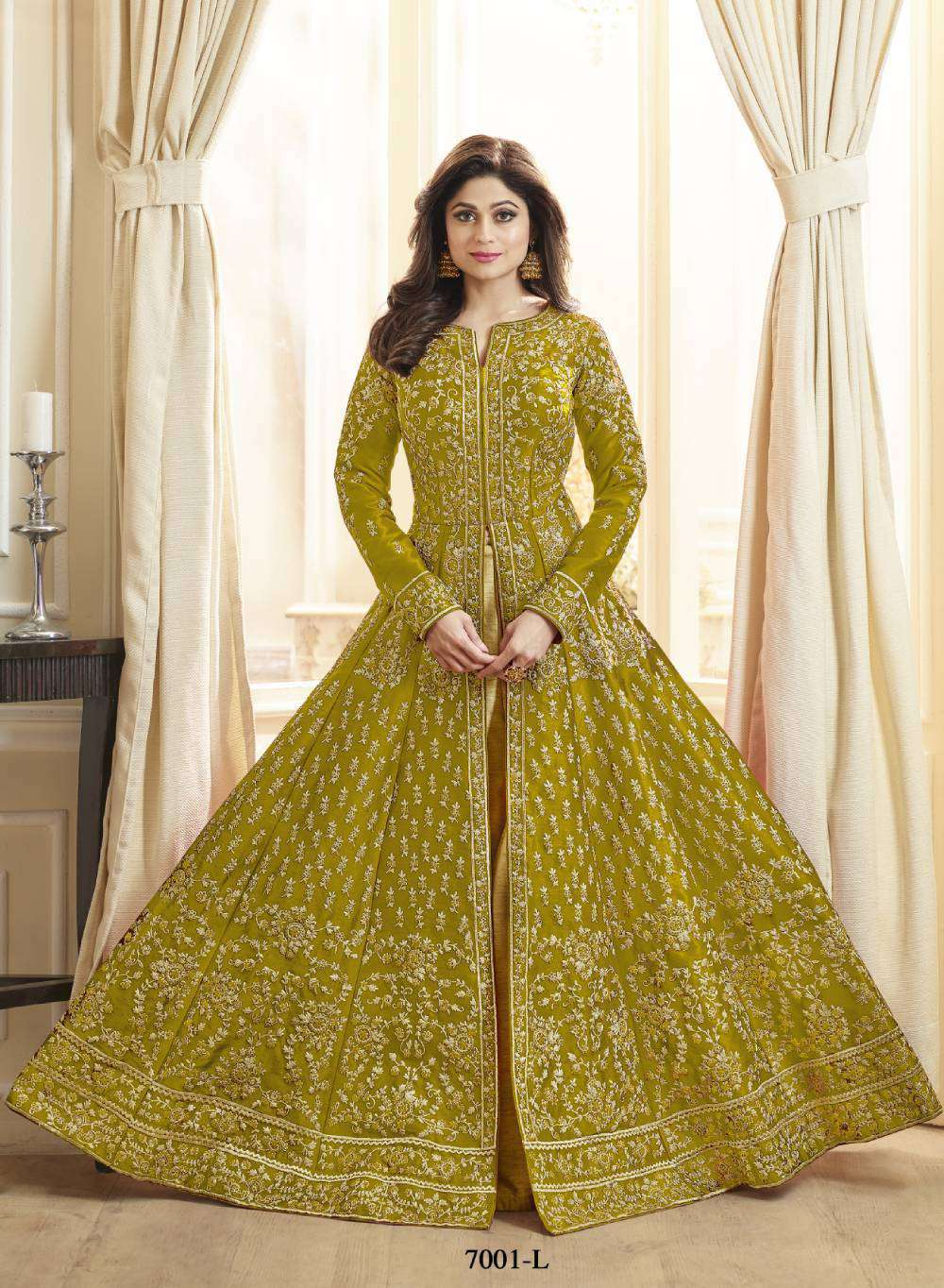Embroidered Art Silk In Mustard Colour Salwar Kameez MYSK-2153