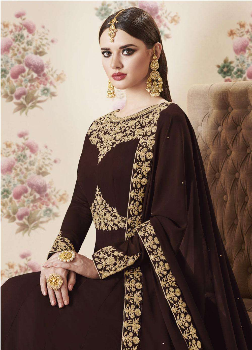 Anarkali Brown Colour Real Georgette Embroidered Salwar Kameez MYSK-2168