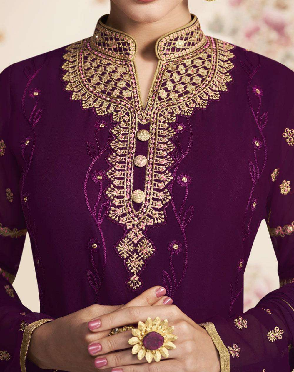 Purple Real Georgette Sharara Style Salwar Kameez MYSK-2175