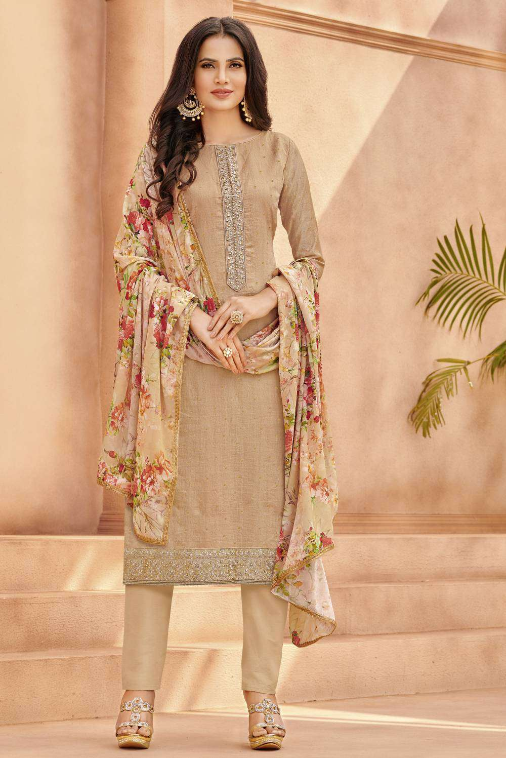 Cream Viscose Jacquard Embroidered Salwar Kameez MYSK-2190
