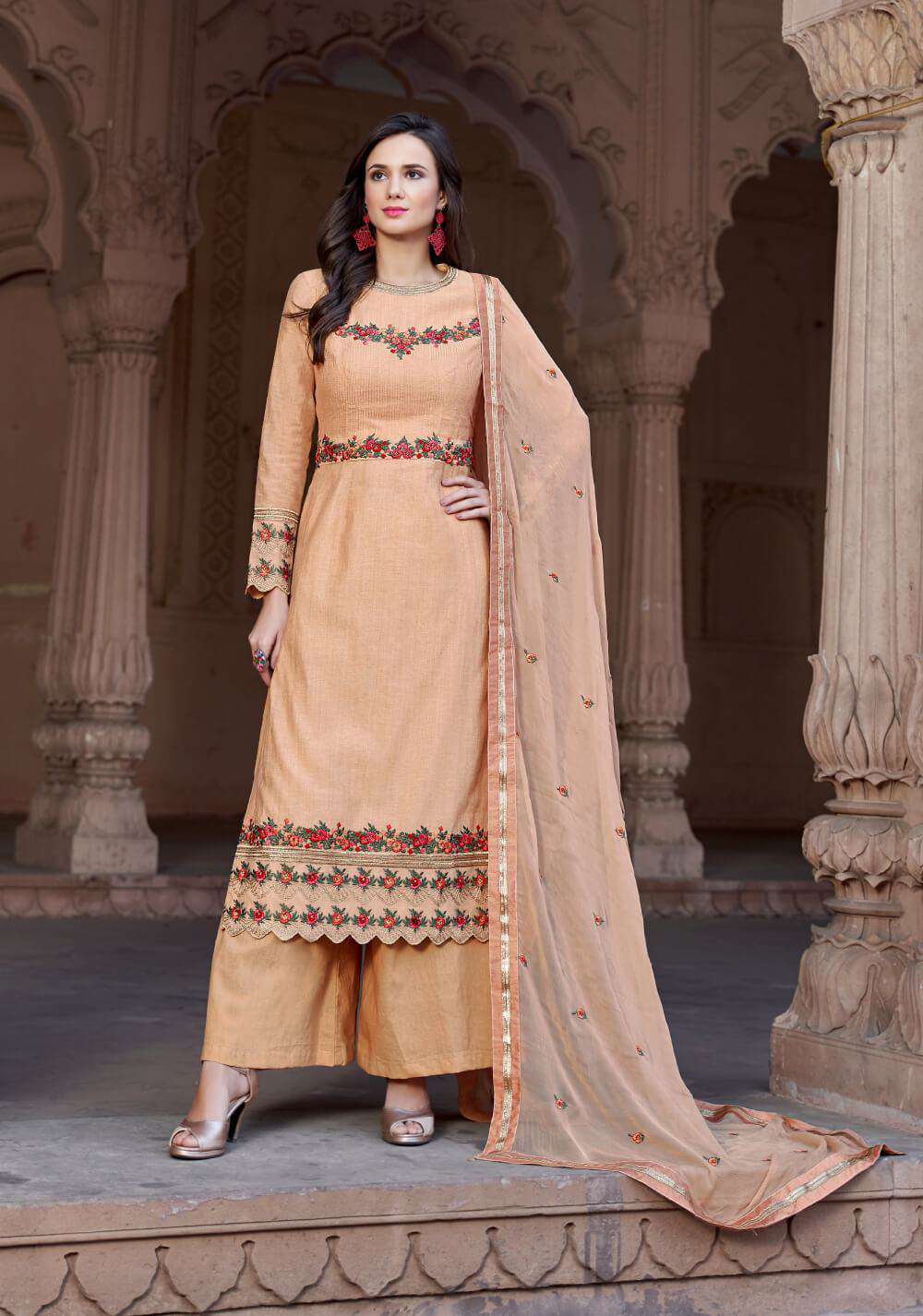 Peach Cotton Embroidery Work Designer Salwar Kameez MYSK-2197