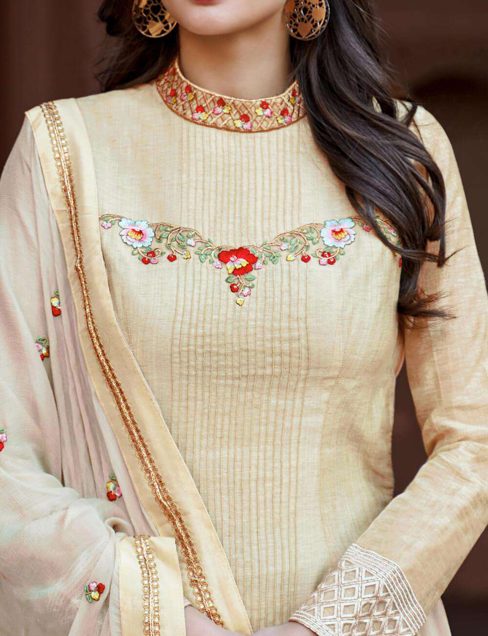 Cream Cotton Embroidery Work Designer Salwar Kameez MYSK-2201