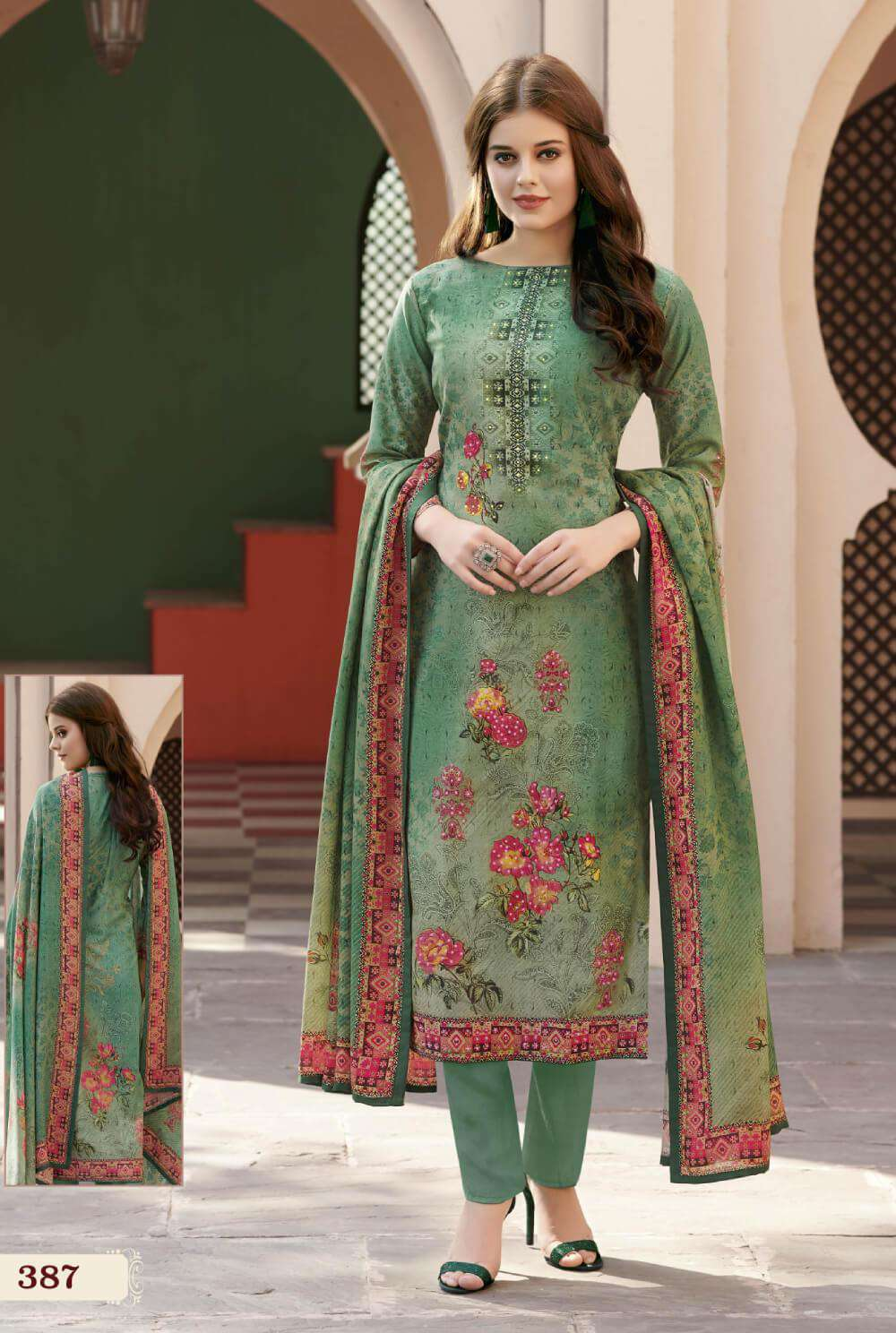 Green Colour Digital Printed Satin Salwar Kameez MYSK-2203