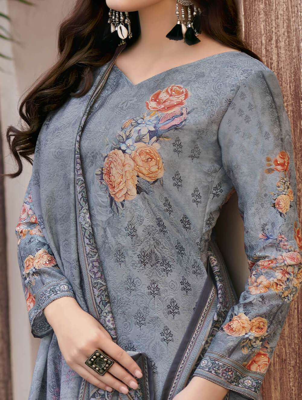 Grey Colour Digital Printed Satin Salwar Kameez MYSK-2204