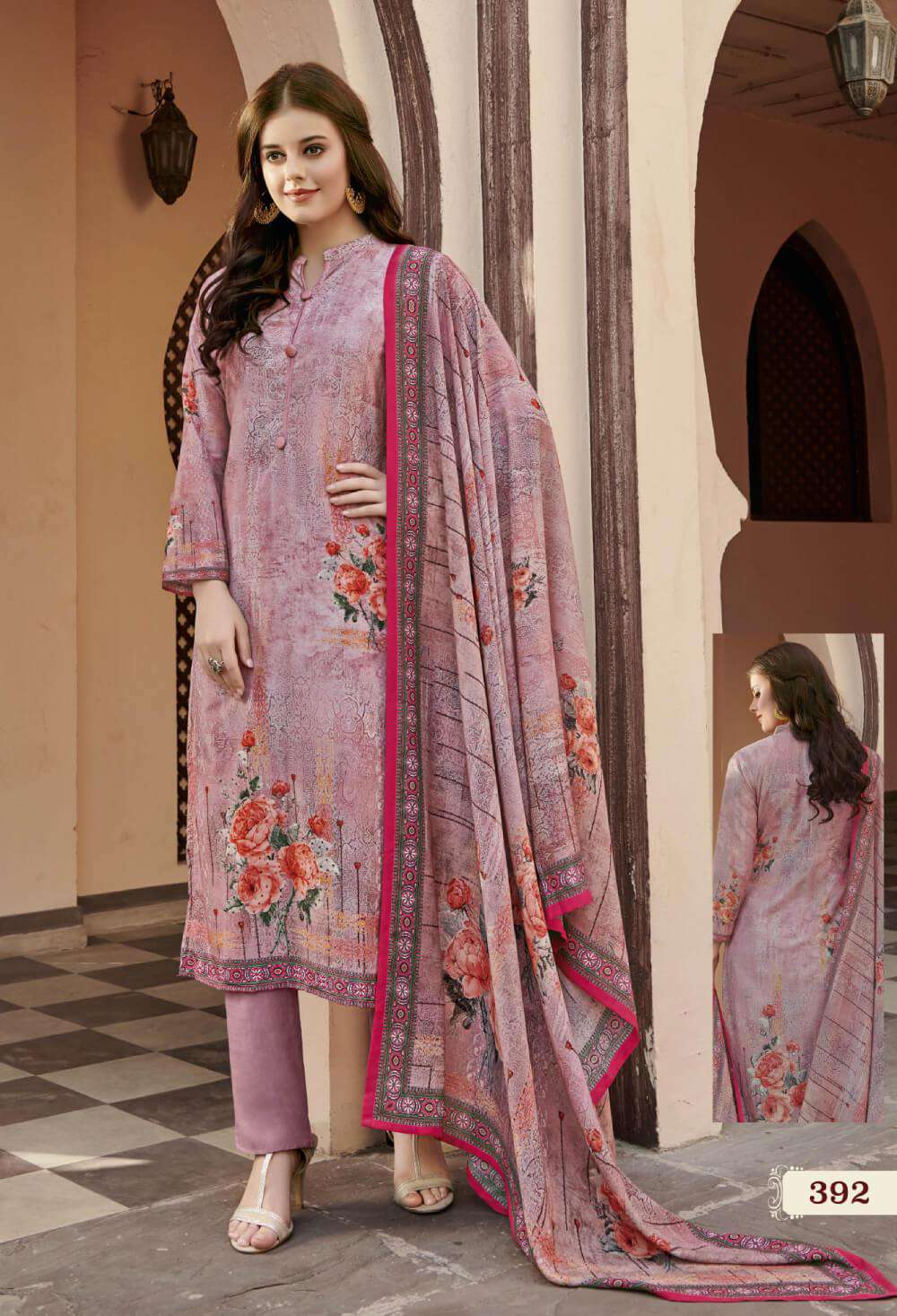 Pink Colour Digital Printed Satin Salwar Kameez MYSK-2207