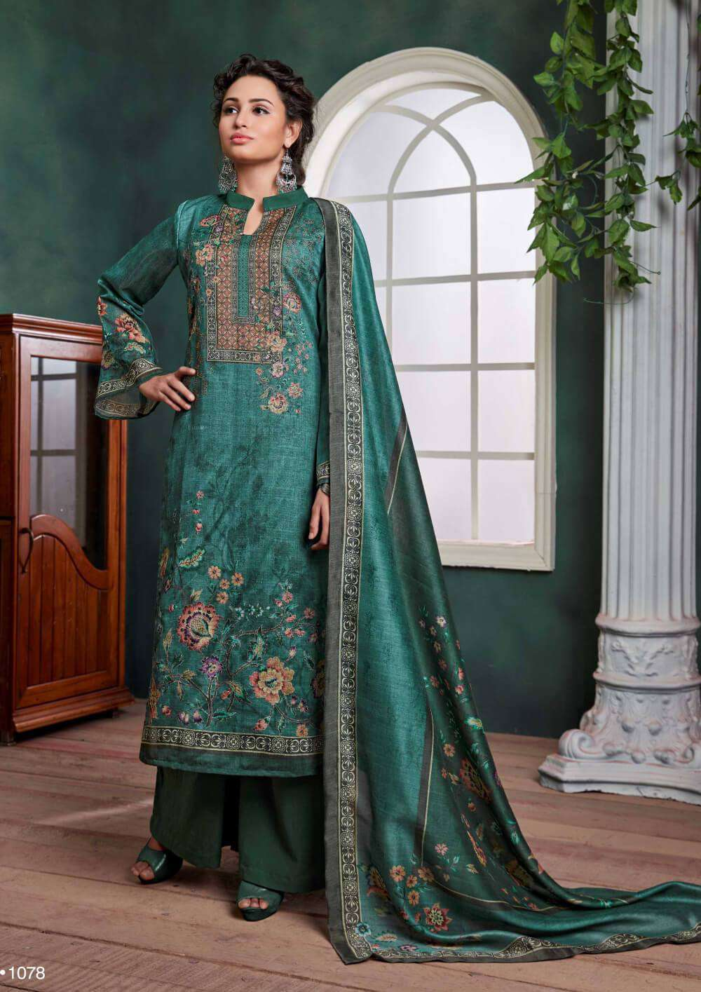 Bottle Green Digital Printed Chandri Palazzo Designer Salwar Kameez MYSK-2216