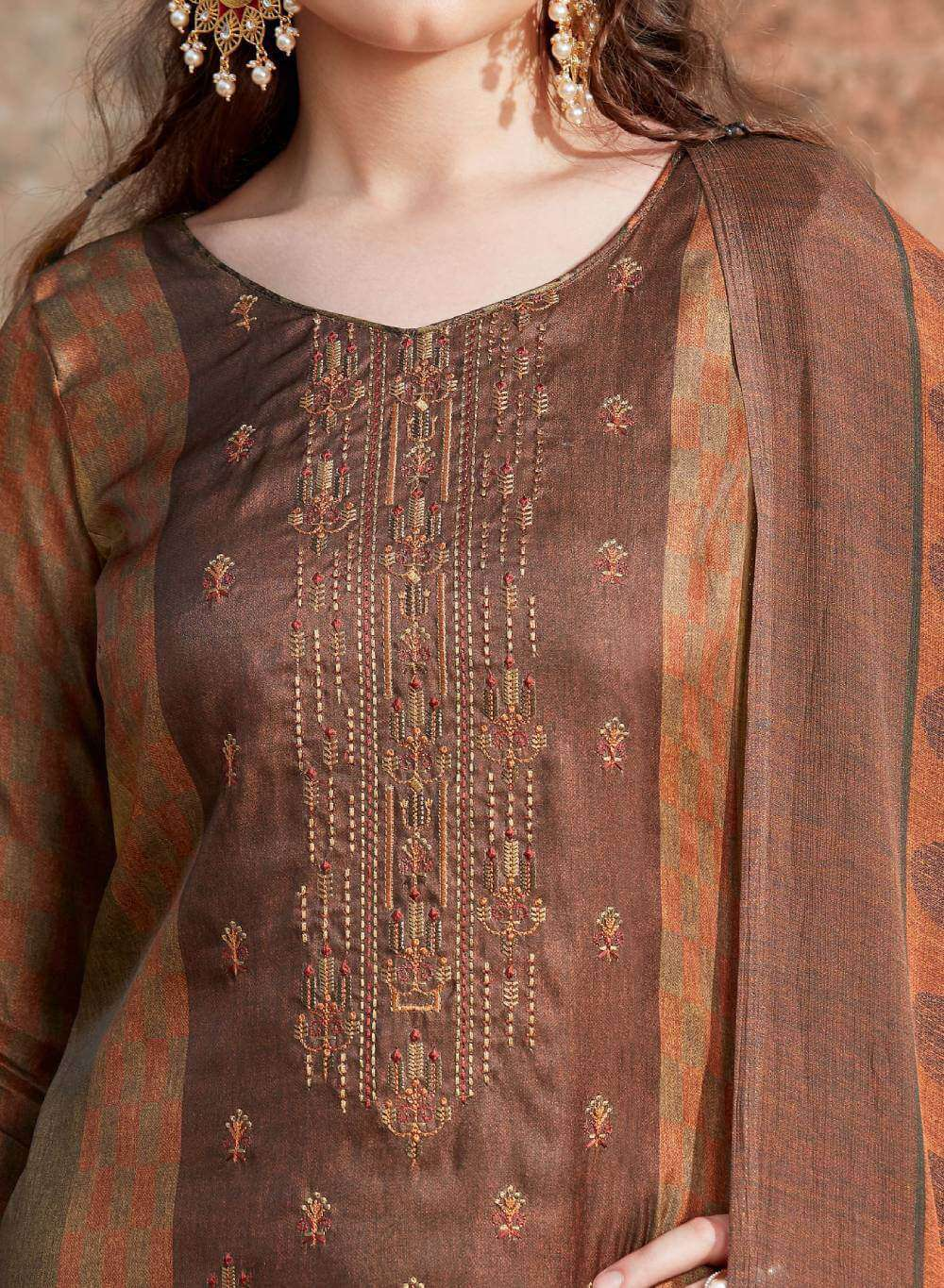Brown Satin Embroidered Pant Style Salwar Kameez MYSK-2218