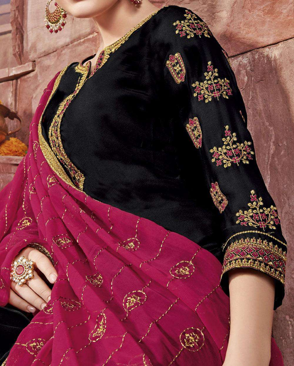 Black Satin Embroidered Churidar Designer Salwar Kameez MYSK-2247