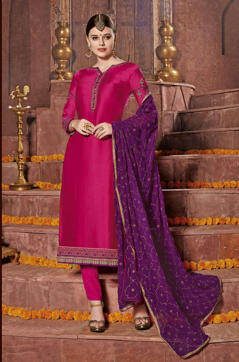 Pink Satin Embroidered Churidar Designer Salwar Kameez MYSK-2248