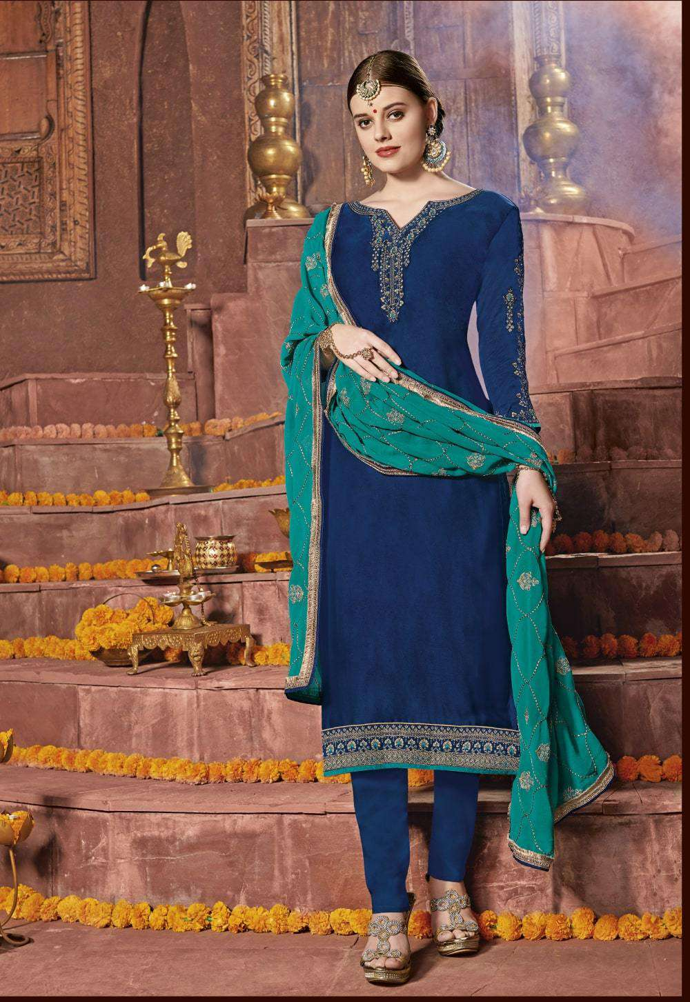 Blue Satin Embroidered Churidar Designer Salwar Kameez MYSK-2251