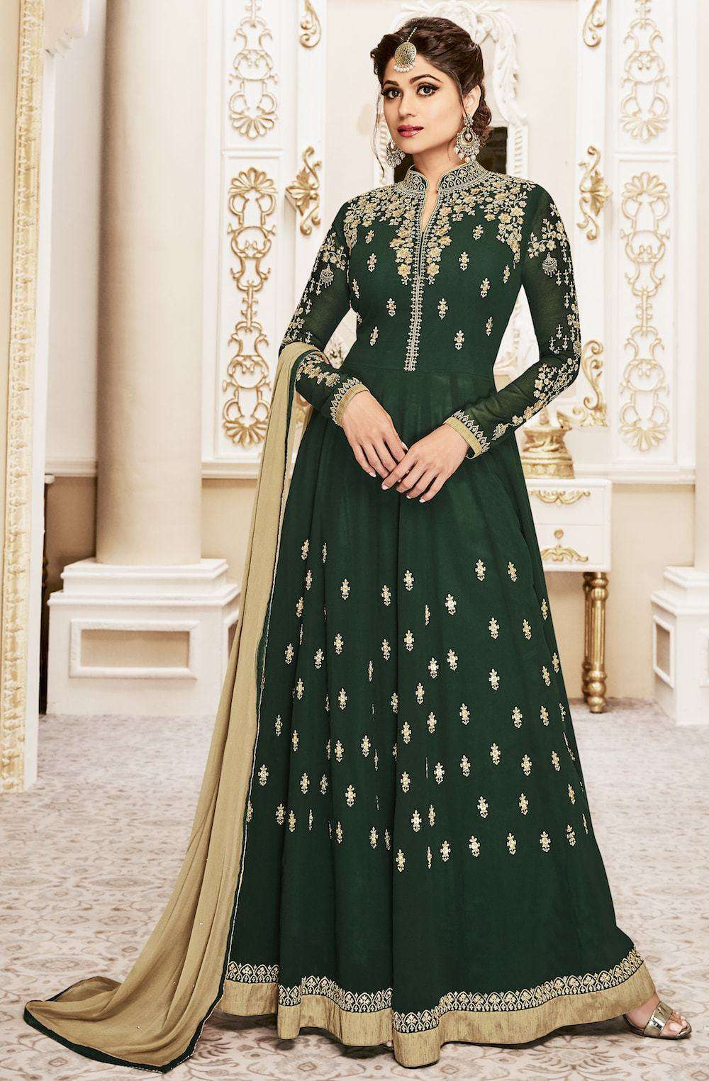 Art Embroidered Floor Length Green Anarkali Salwar Kameez MYSK-226