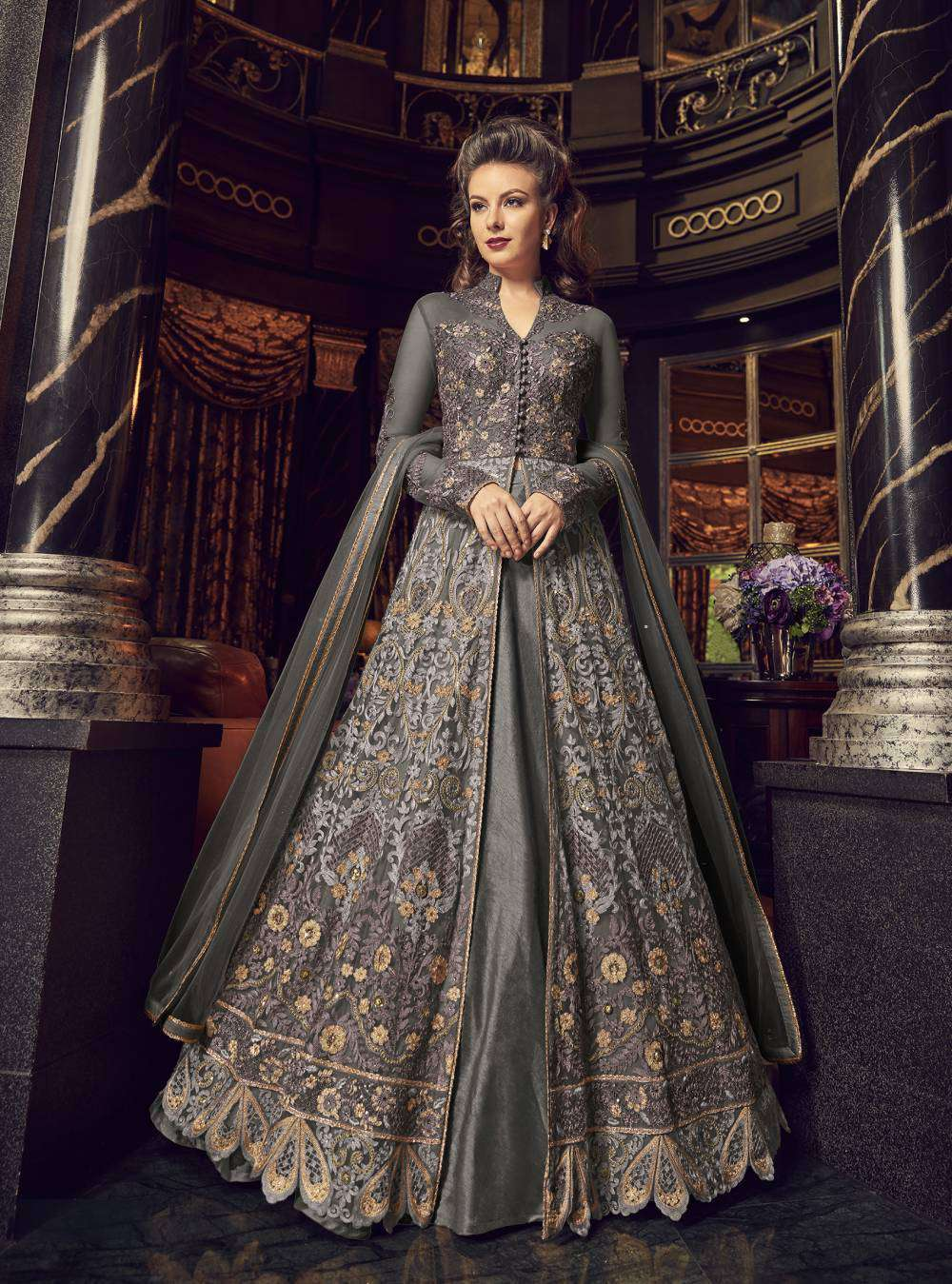 Embellished Anarkali Designer Grey Colour Salwar Kameez MYSK-2272