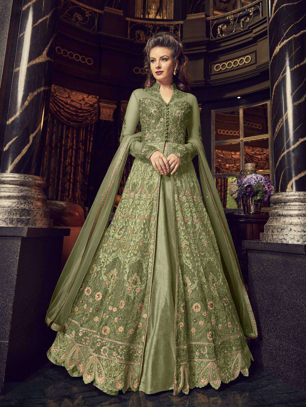 Embellished Anarkali Designer Green Colour Salwar Kameez MYSK-2273