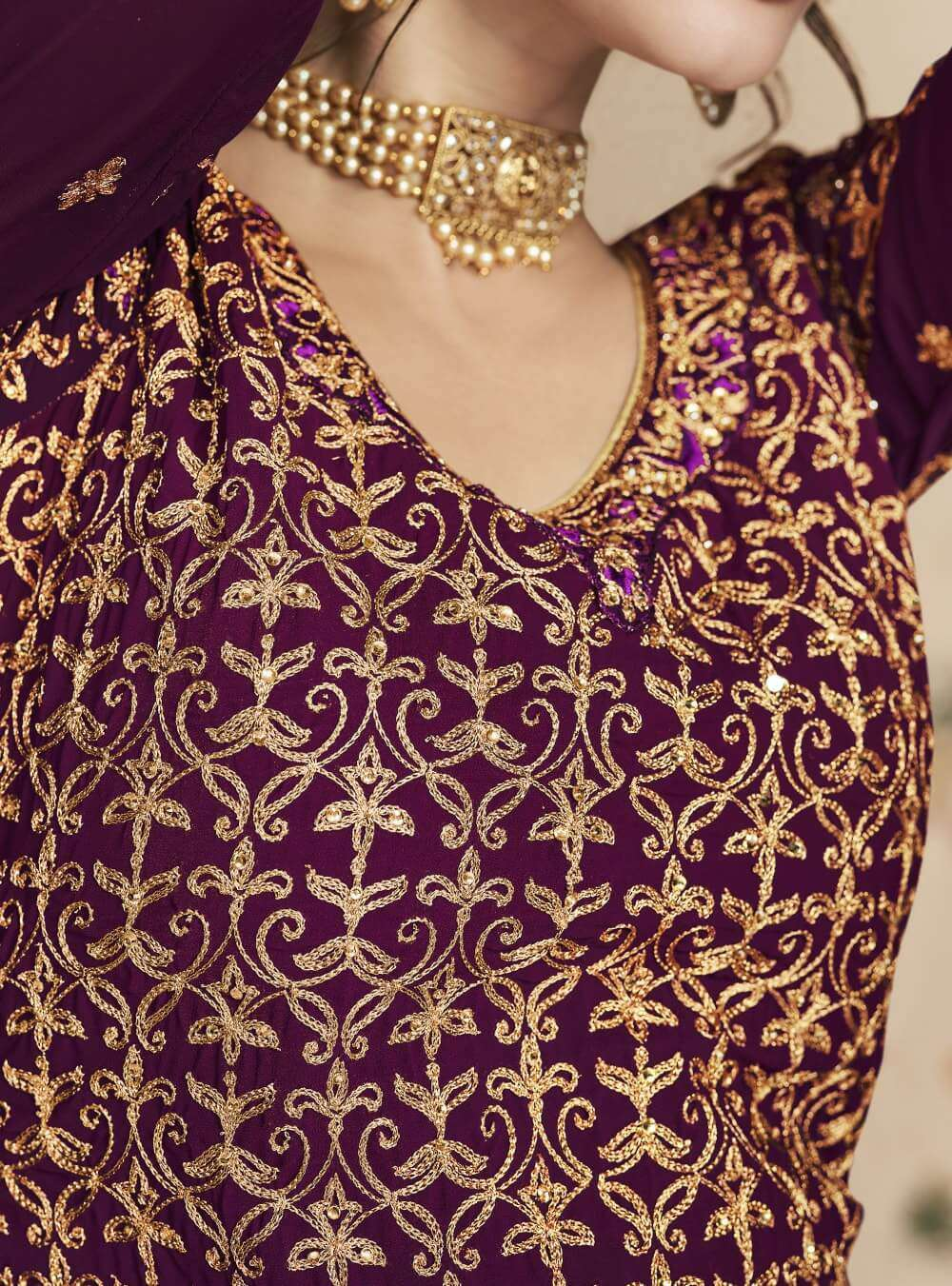 Purple Real Georgette Sharara Design Salwar Kameez MYSK-2285