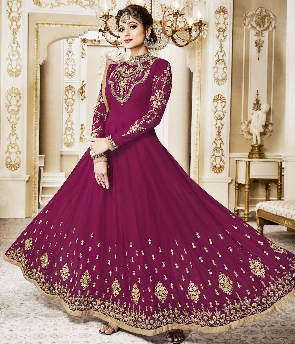 Art Embroidered Floor Length Magenta Anarkali Salwar Kameez MYSK-229