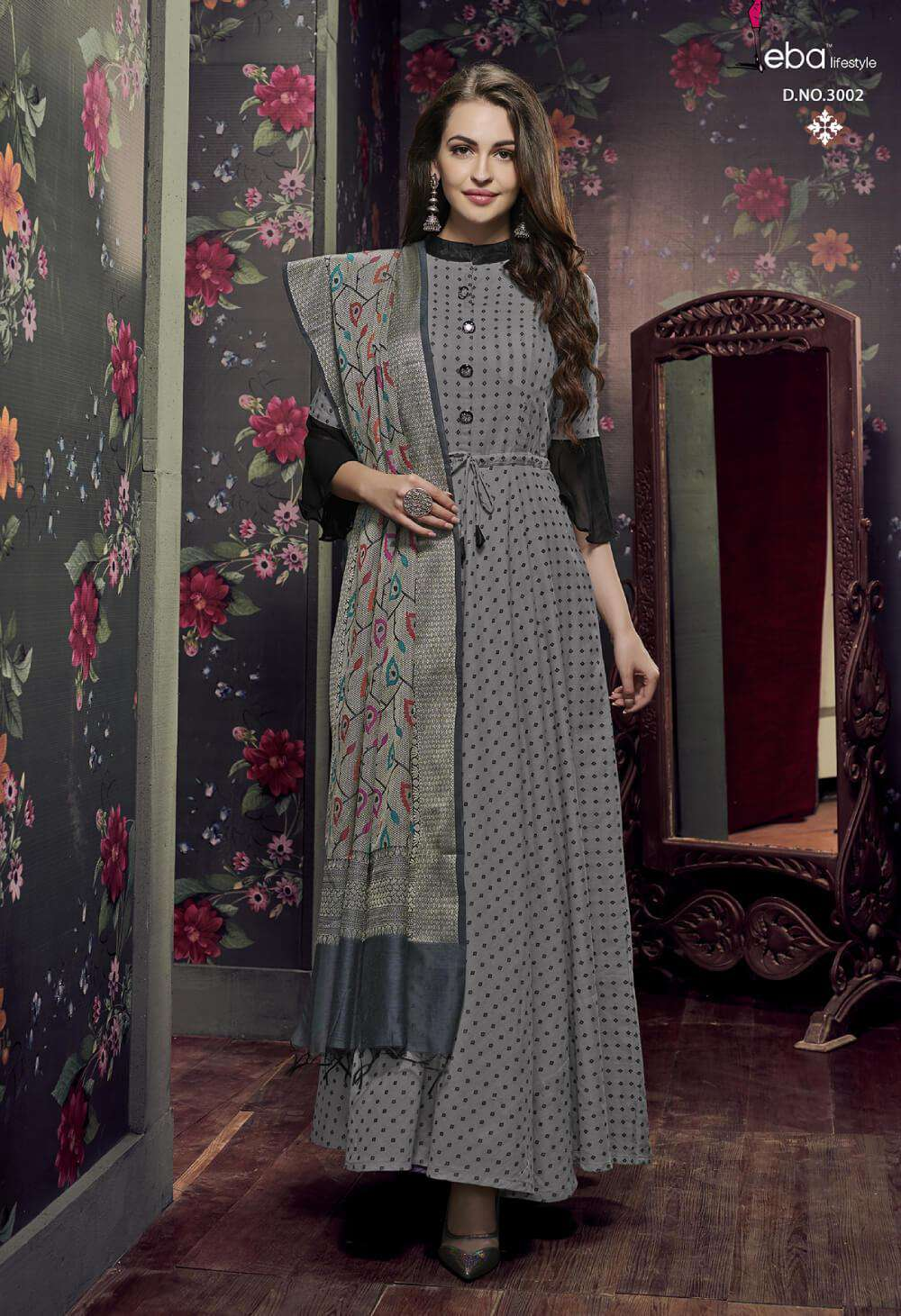 Printed Pure Cotton Grey Colour Salwar Kameez MYSK-2305