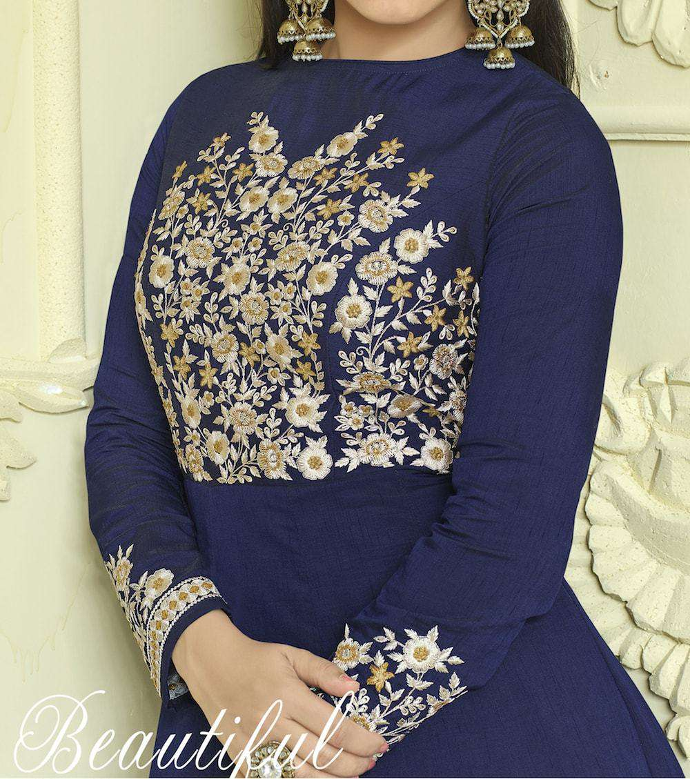 Unique Embroidered Blue Anarkali Salwar Kameez MYSK-231