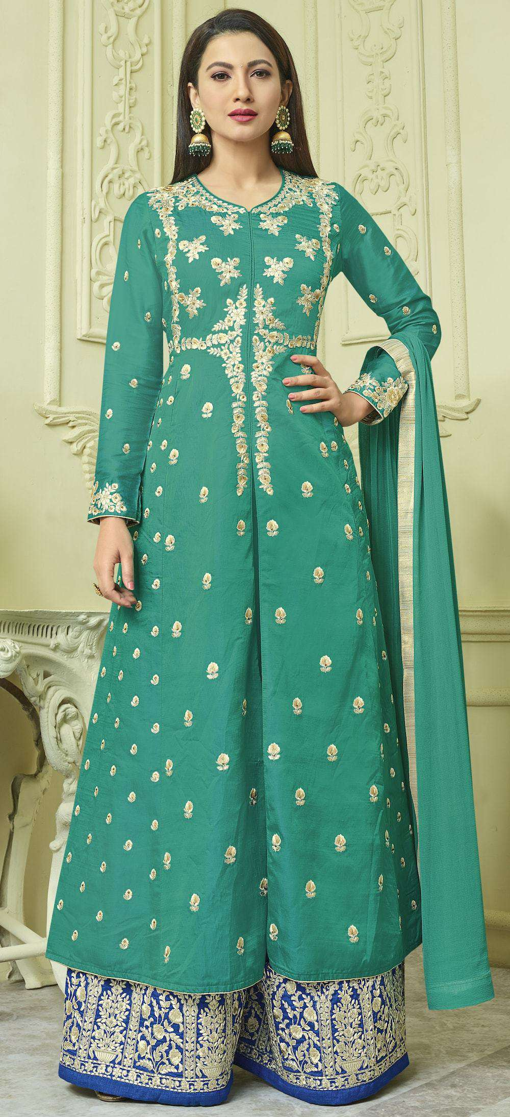 Unique Embroidered Bottle Green & Blue  Anarkali Salwar Kameez MYSK-233