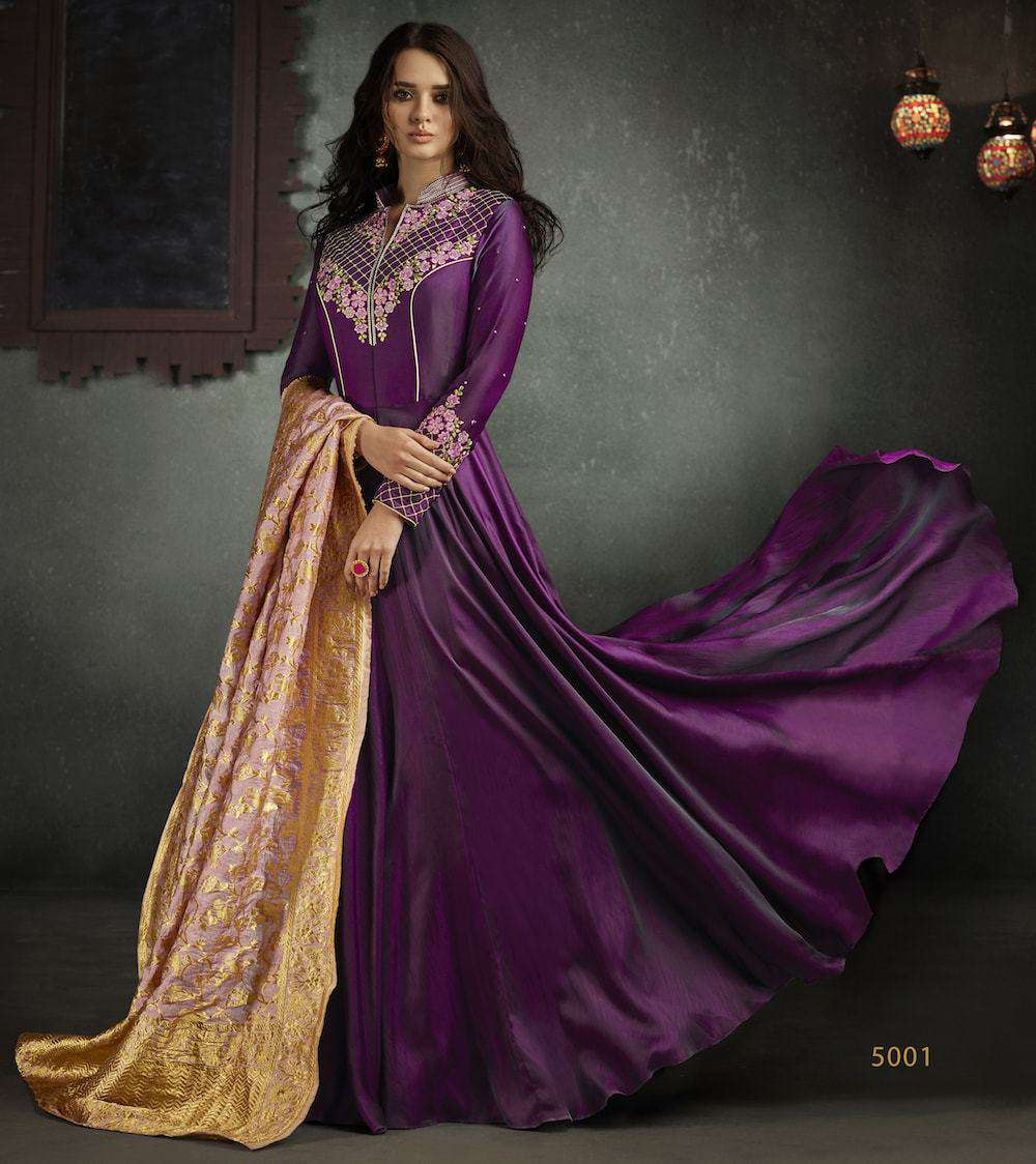 Beautiful Designer Embroidered Purple Anarkali Salwar Kameez MYSK-249