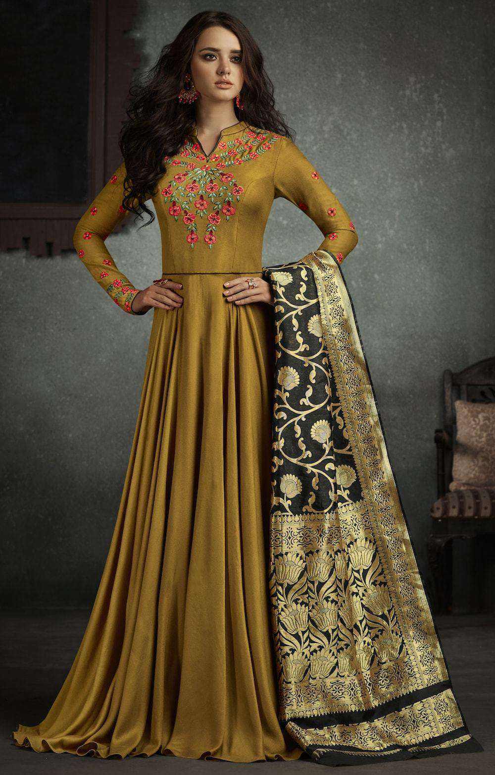 Beautiful Designer Embroidered Beige Anarkali Salwar Kameez MYSK-250