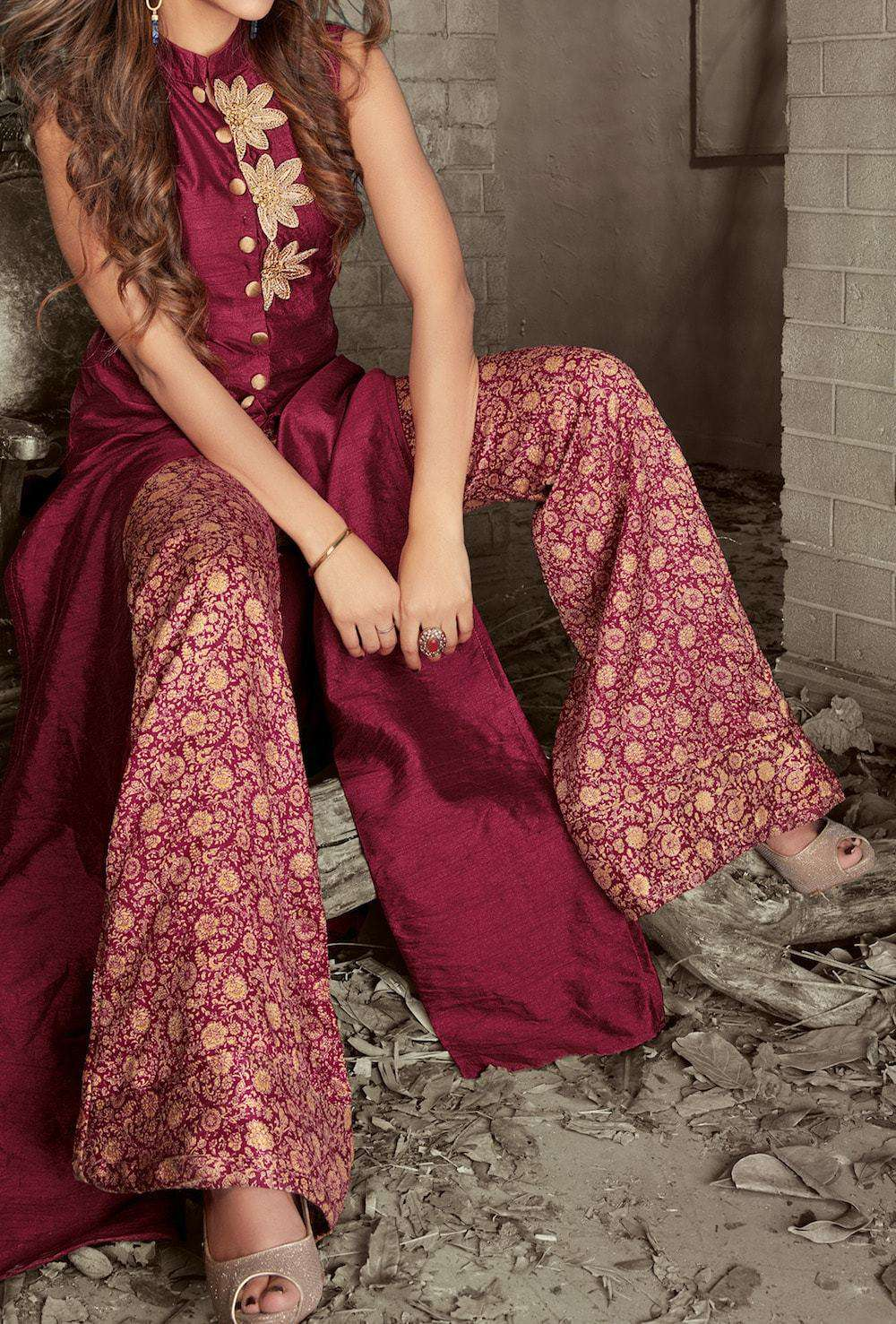 Stylish Embroidered Maroon Anarkali Salwar Kameez MYSK-268