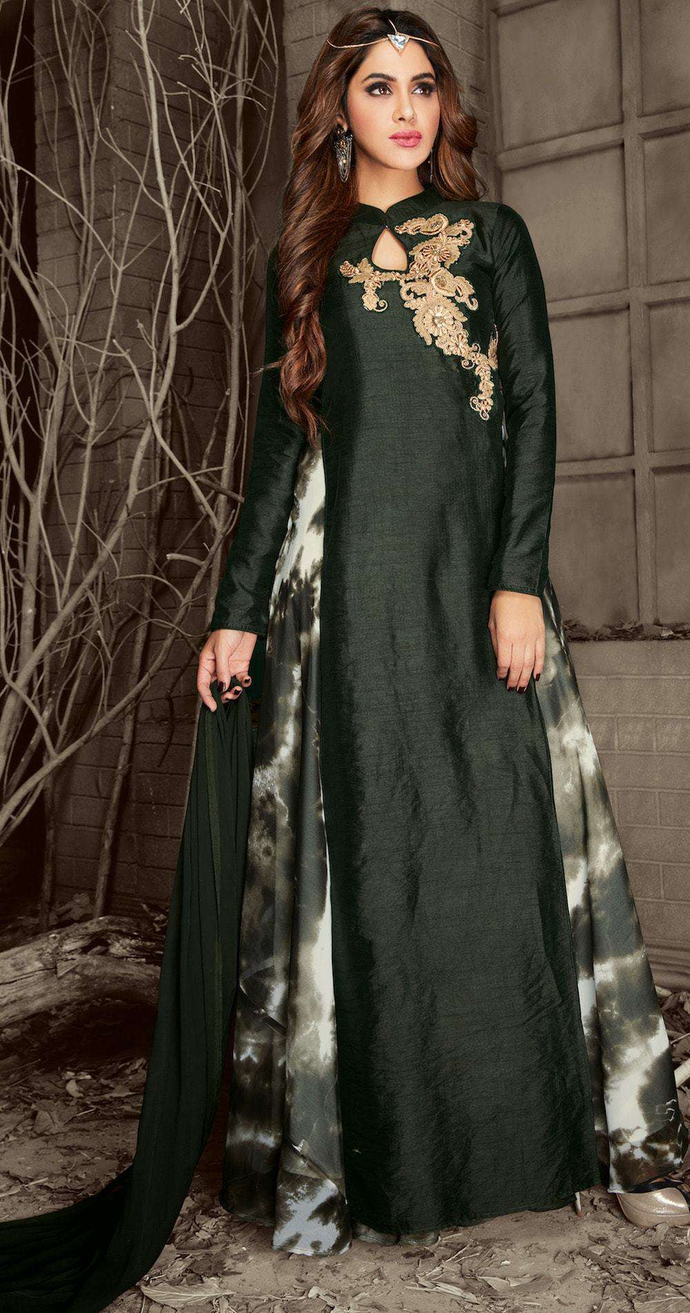 Stylish Embroidered Dark Green Anarkali Salwar Kameez MYSK-270