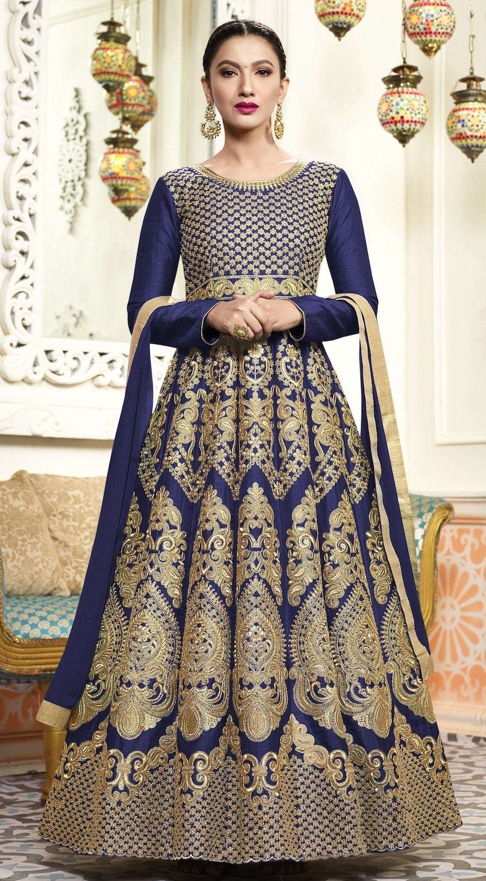 Art Silk Embroidered Navy Blue Anarkali Salwar Kameez MYSK-319