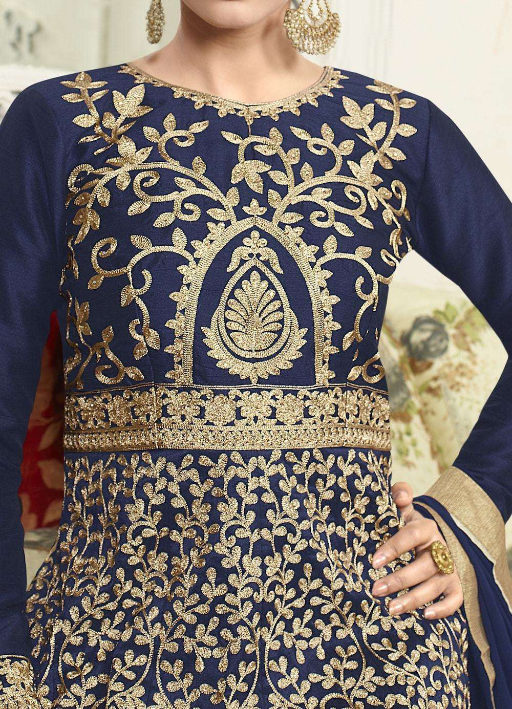 Art Silk Embroidered Navy Blue Anarkali Salwar Kameez MYSK-322