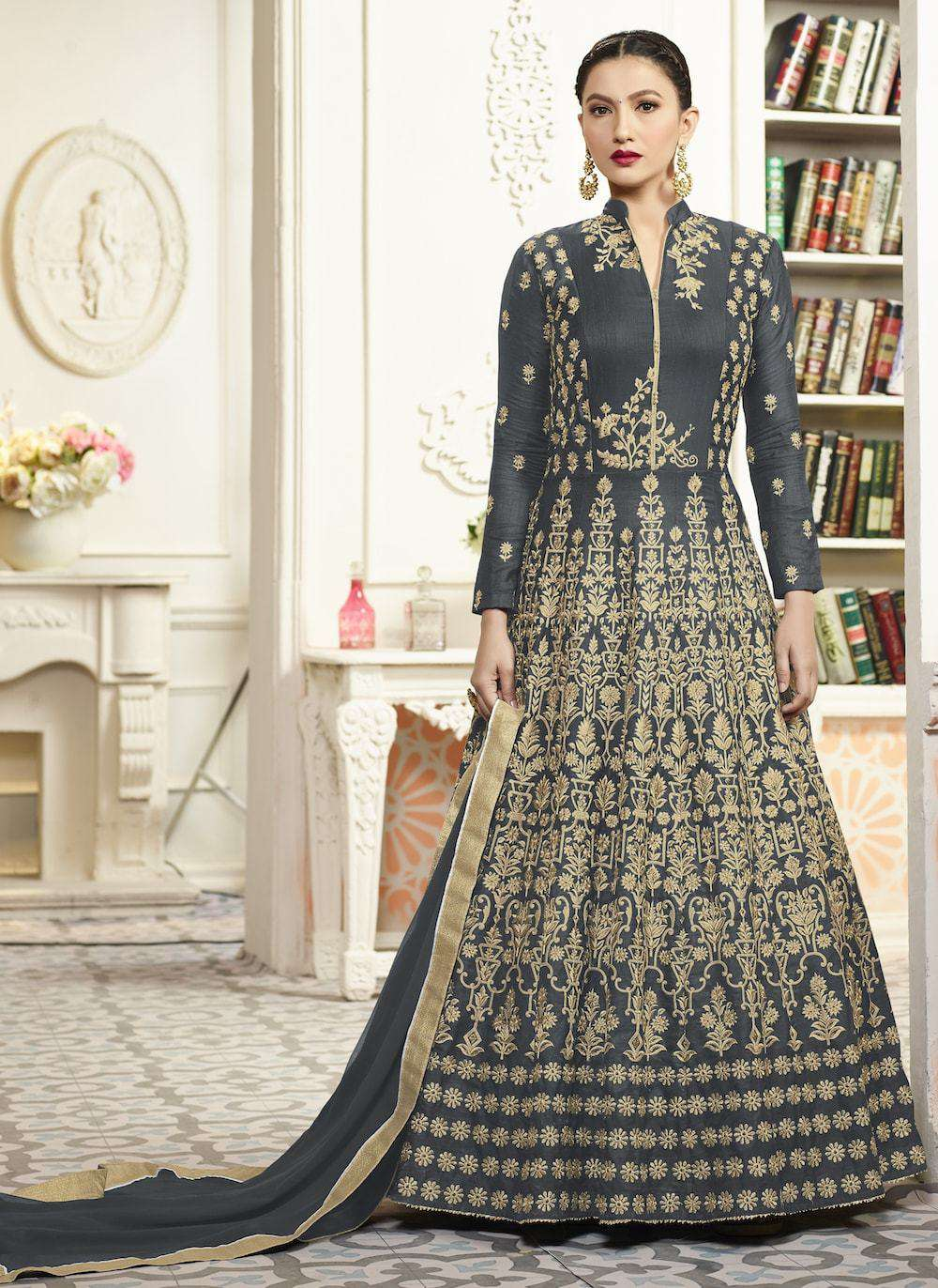 Unique Grey Embroidered Anarkali Salwar Kameez MYSK-348