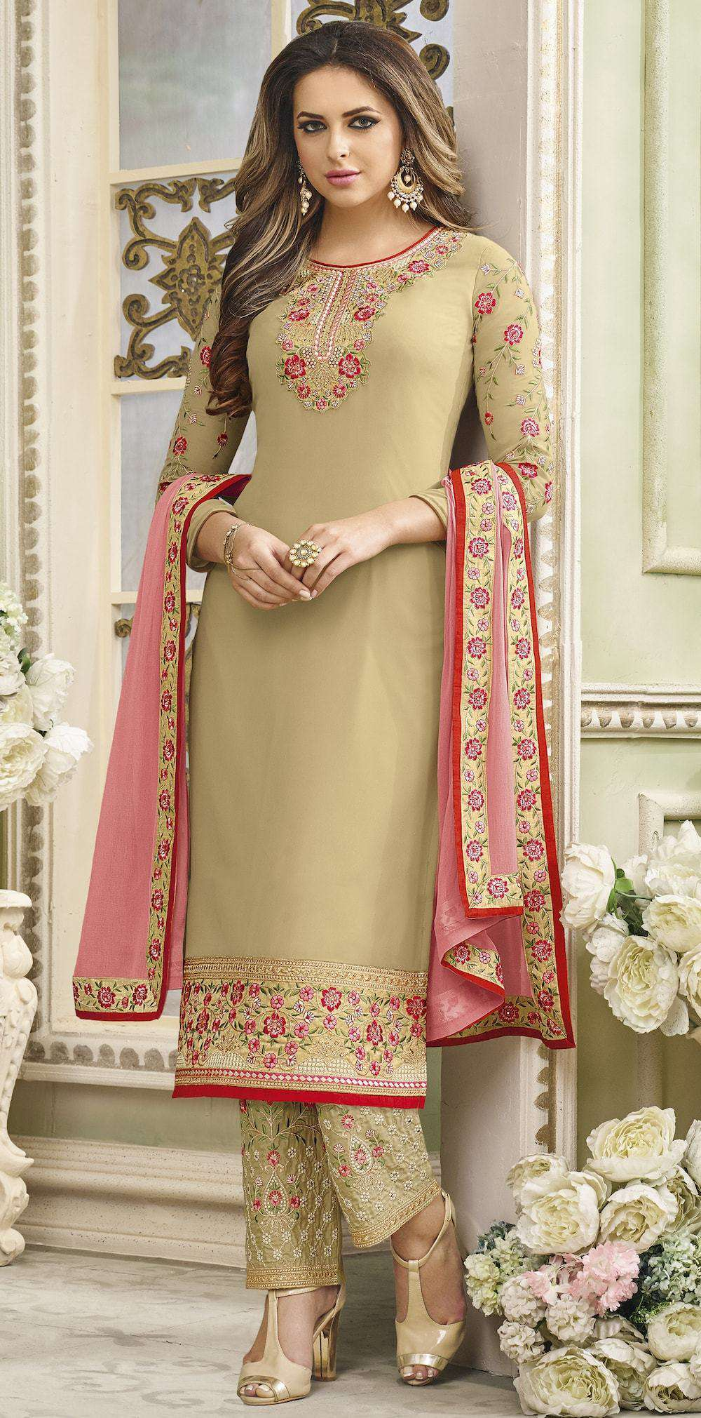 Art Beige Embroidered Salwar Kameez MYSK-364