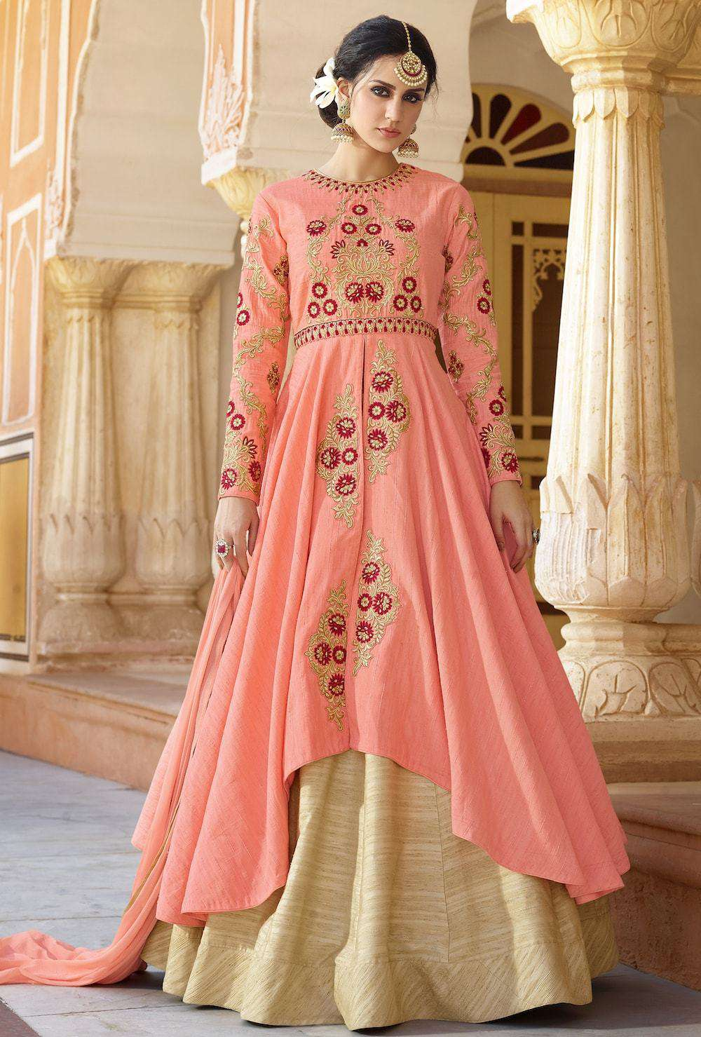 Designer Embroidered Peach & Gold Anarkali Salwar Kameez MYSK-516