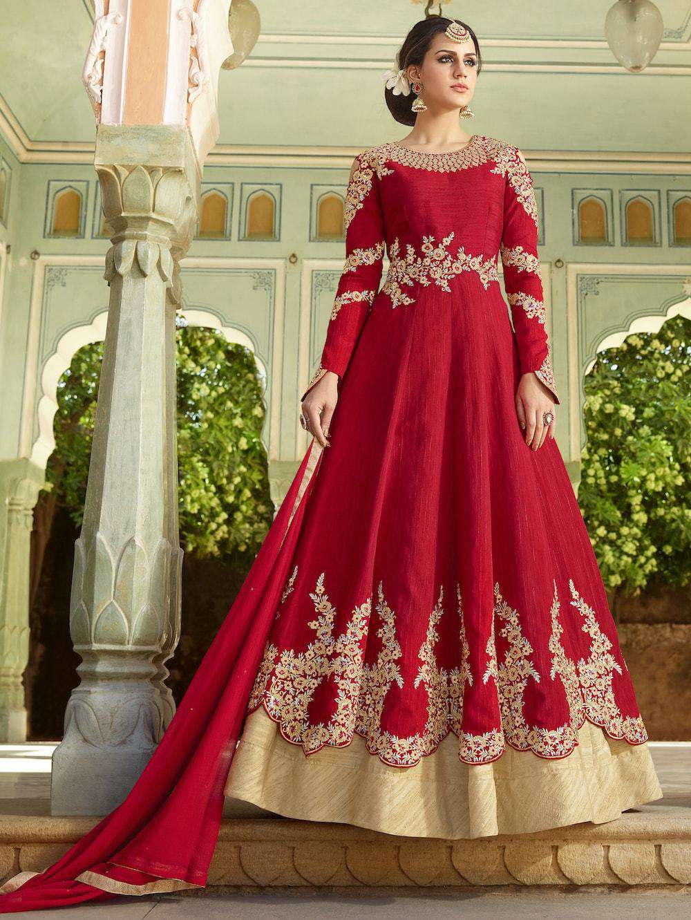 Designer Embroidered Red Anarkali Salwar Kameez MYSK-518