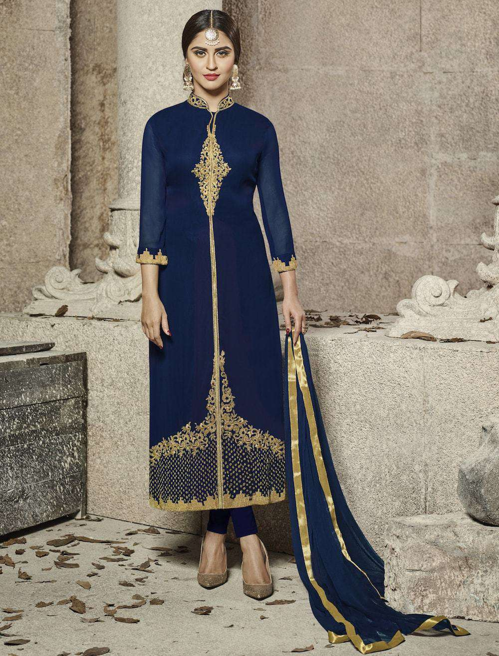Heavy Embroidered Blue Salwar Kameez MYSK-529