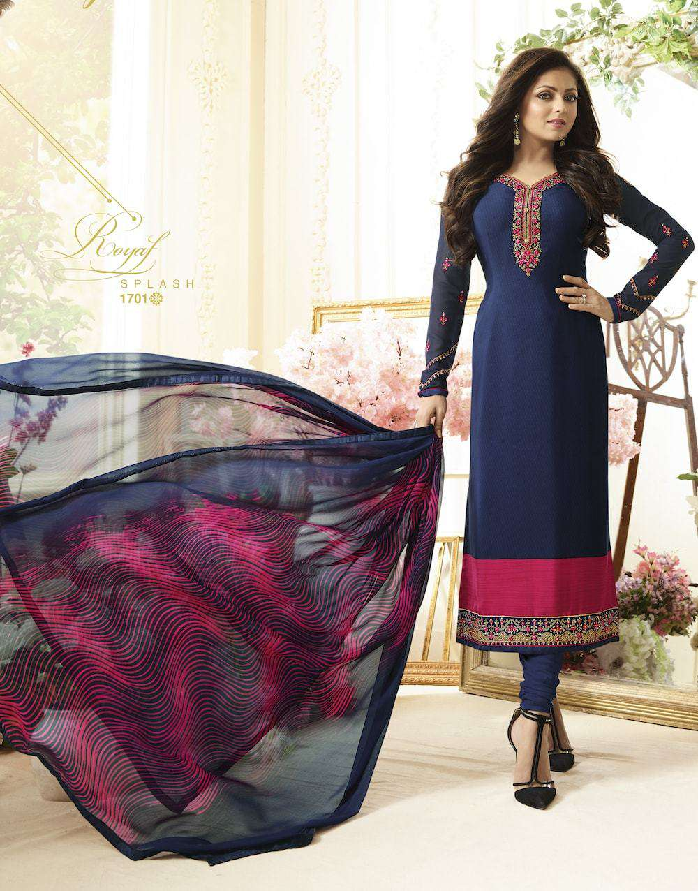 Beautiful Embroidered Navy Blue Salwar Kameez MYSK-543