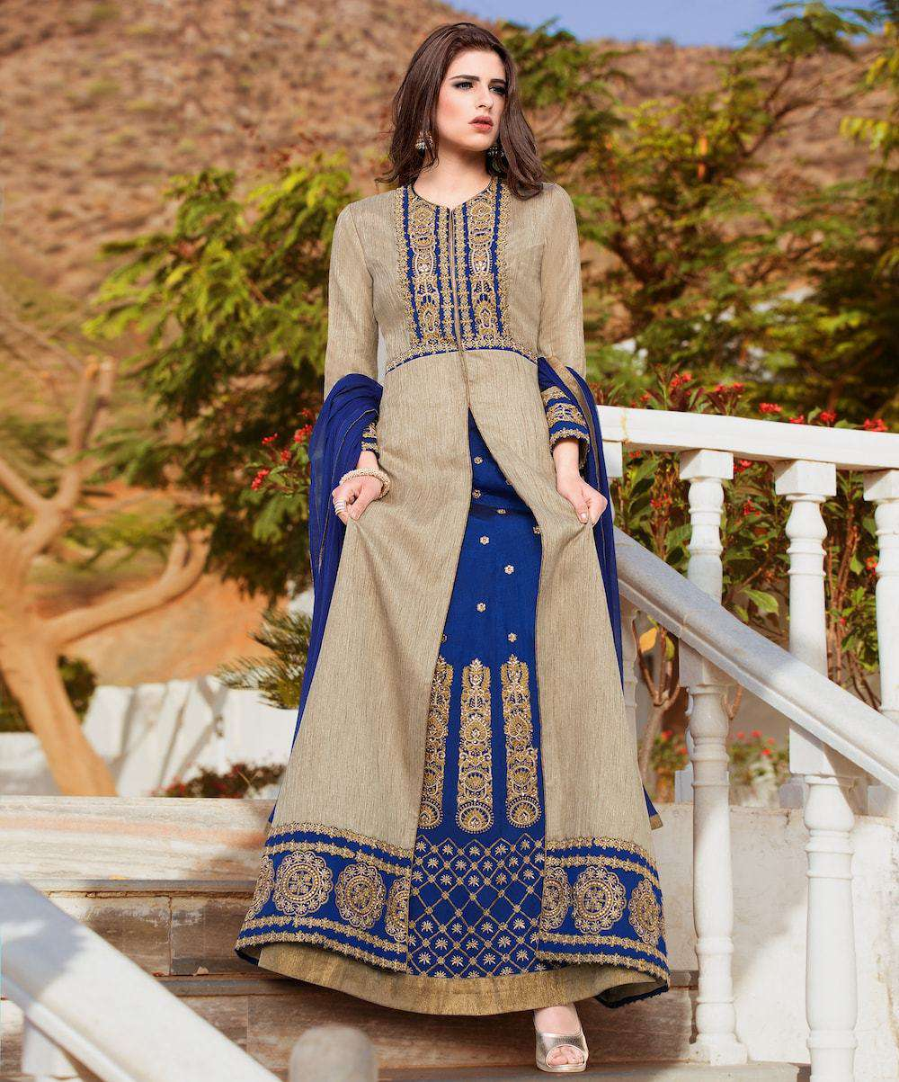 Art Classic Embroidered Blue Anarkali Salwar Kameez MYSK-660