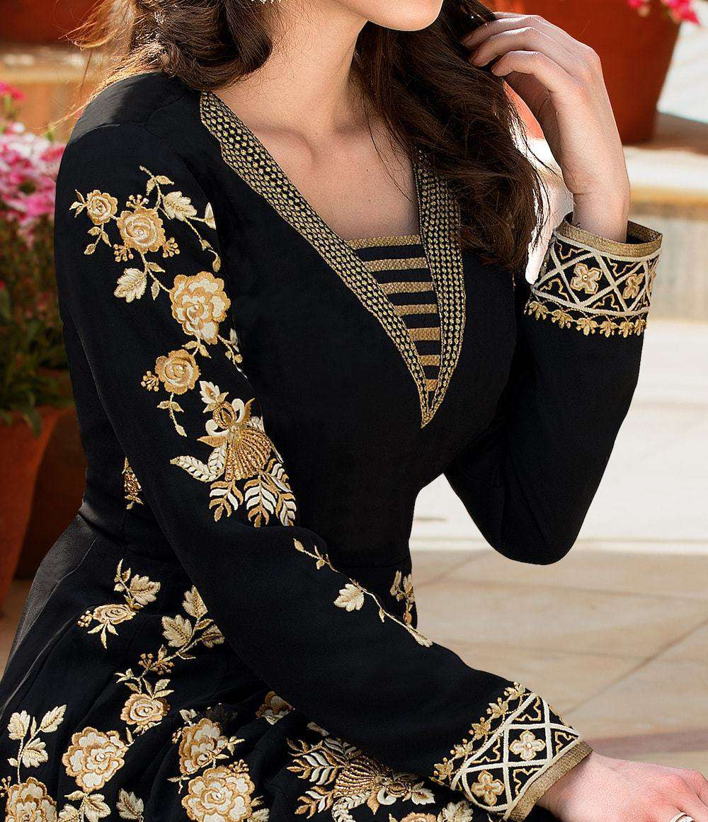 Art Classic Embroidered Black Anarkali Salwar Kameez MYSK-661