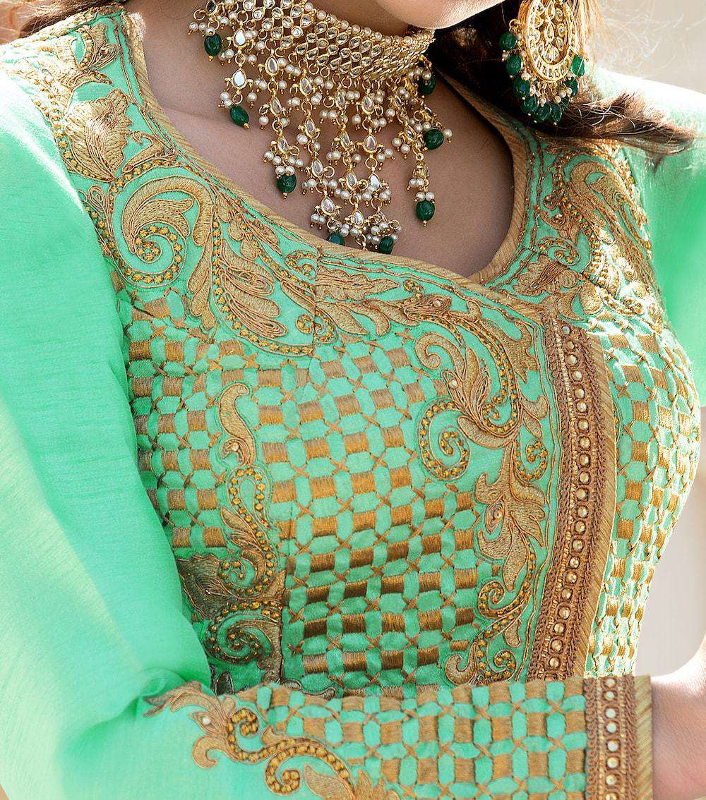Art Classic Embroidered Green & Peach Anarkali Salwar Kameez MYSK-663